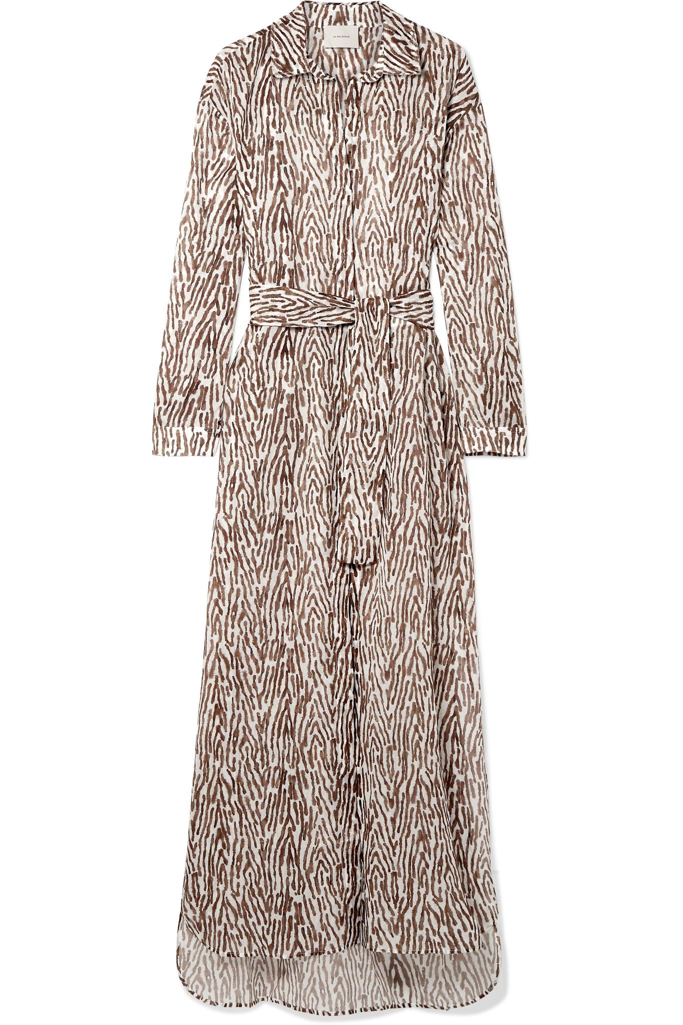 Balos Zebra-print Cotton-voile Robe - Dark brown Marios Schwab Amazing Price J65bT