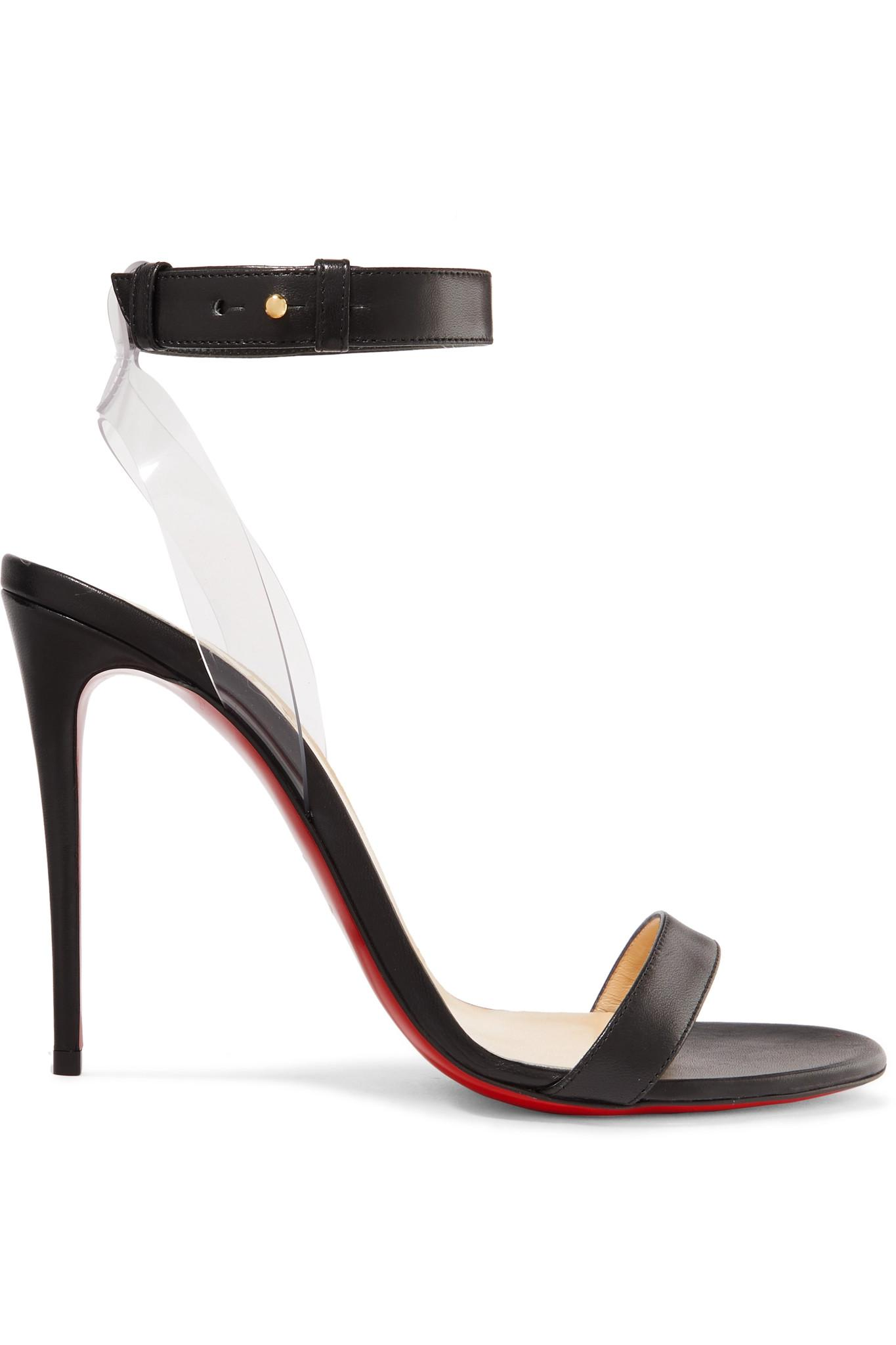 793efabe4e74 Lyst - Christian Louboutin Jonatina 100mm Leather Sandals in Black