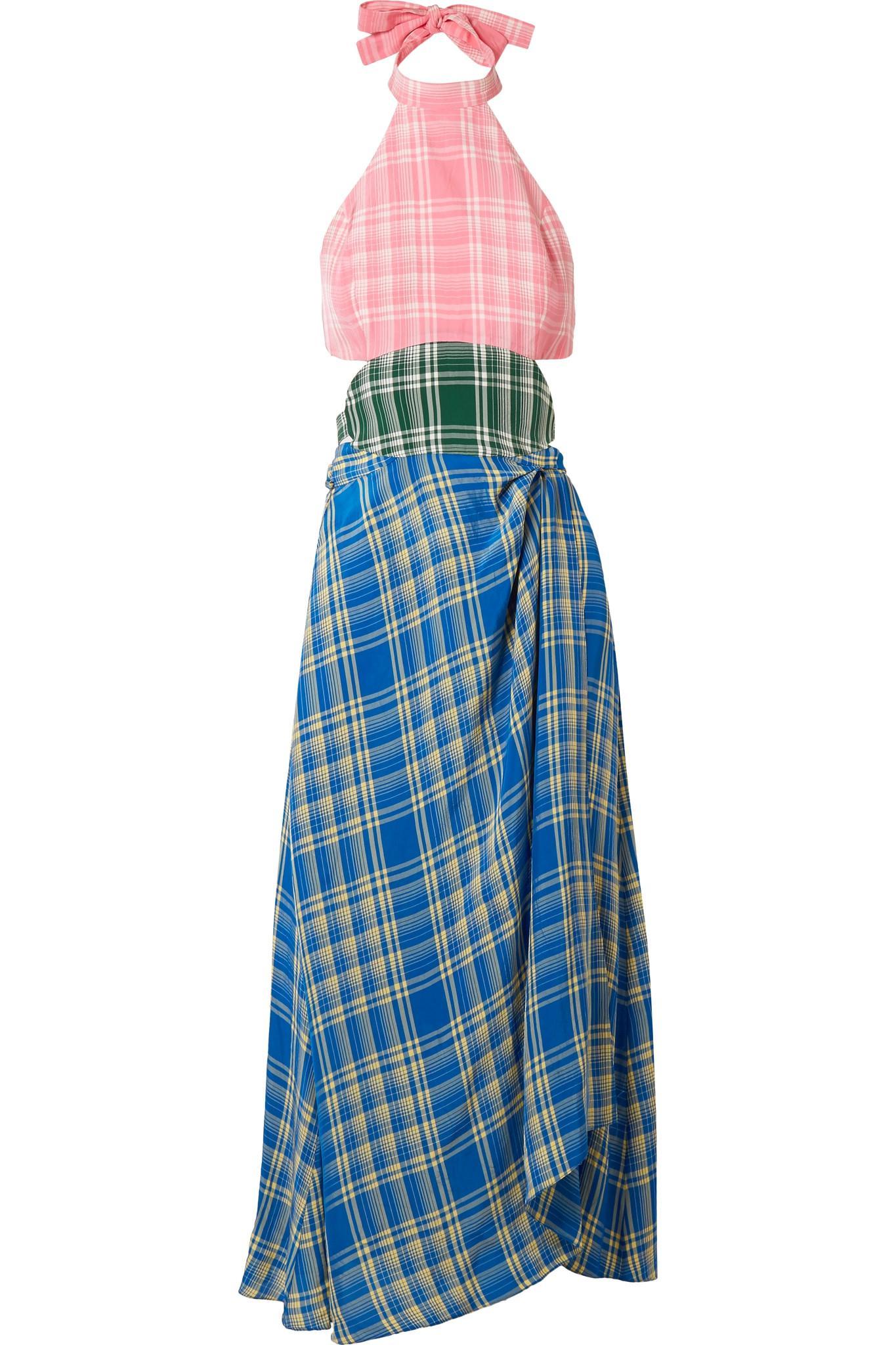 Rosie Assoulin Cutout checked voile midi dress
