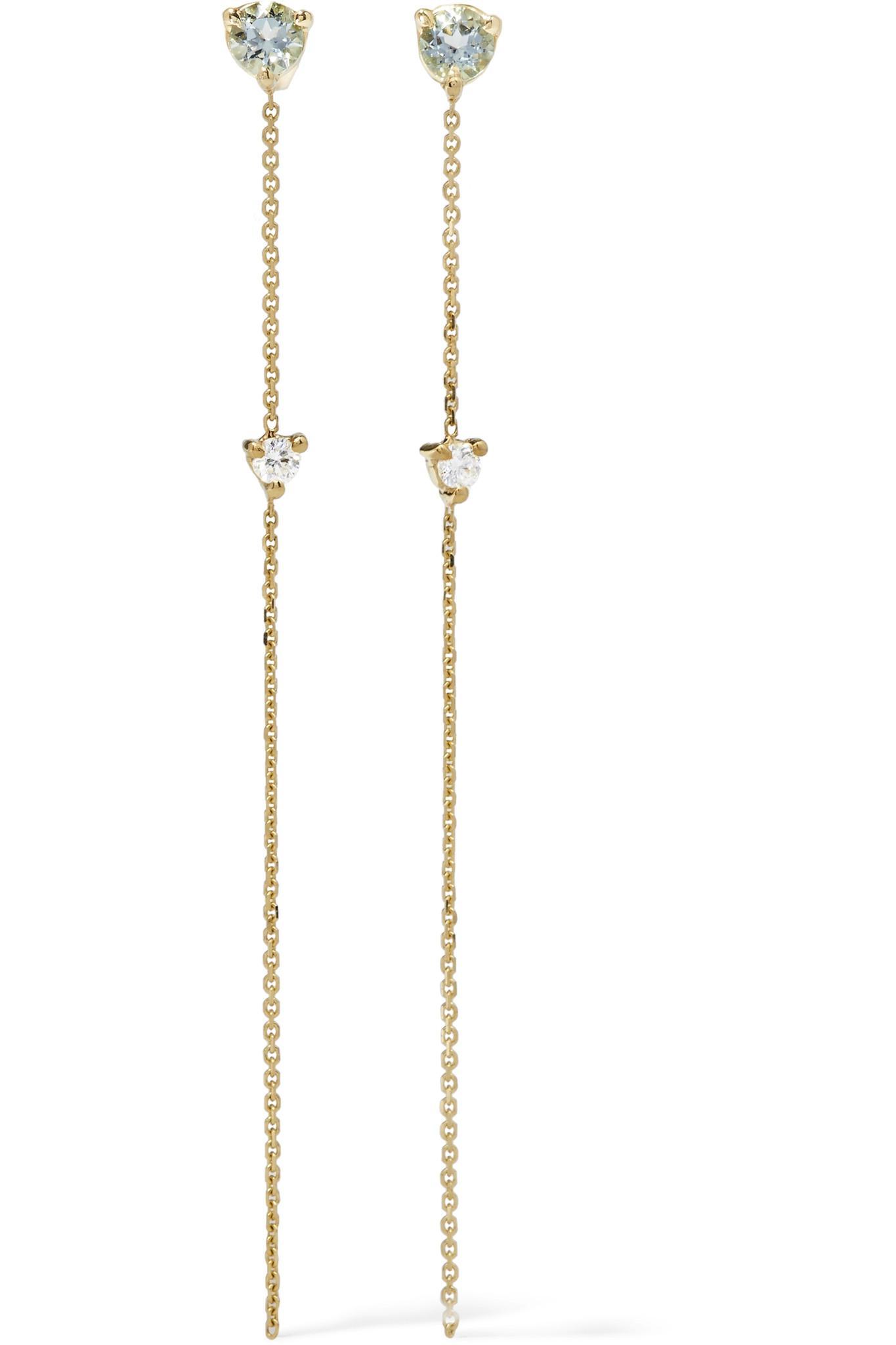 Wwake 14-karat Gold, Tourmaline And Diamond Earring