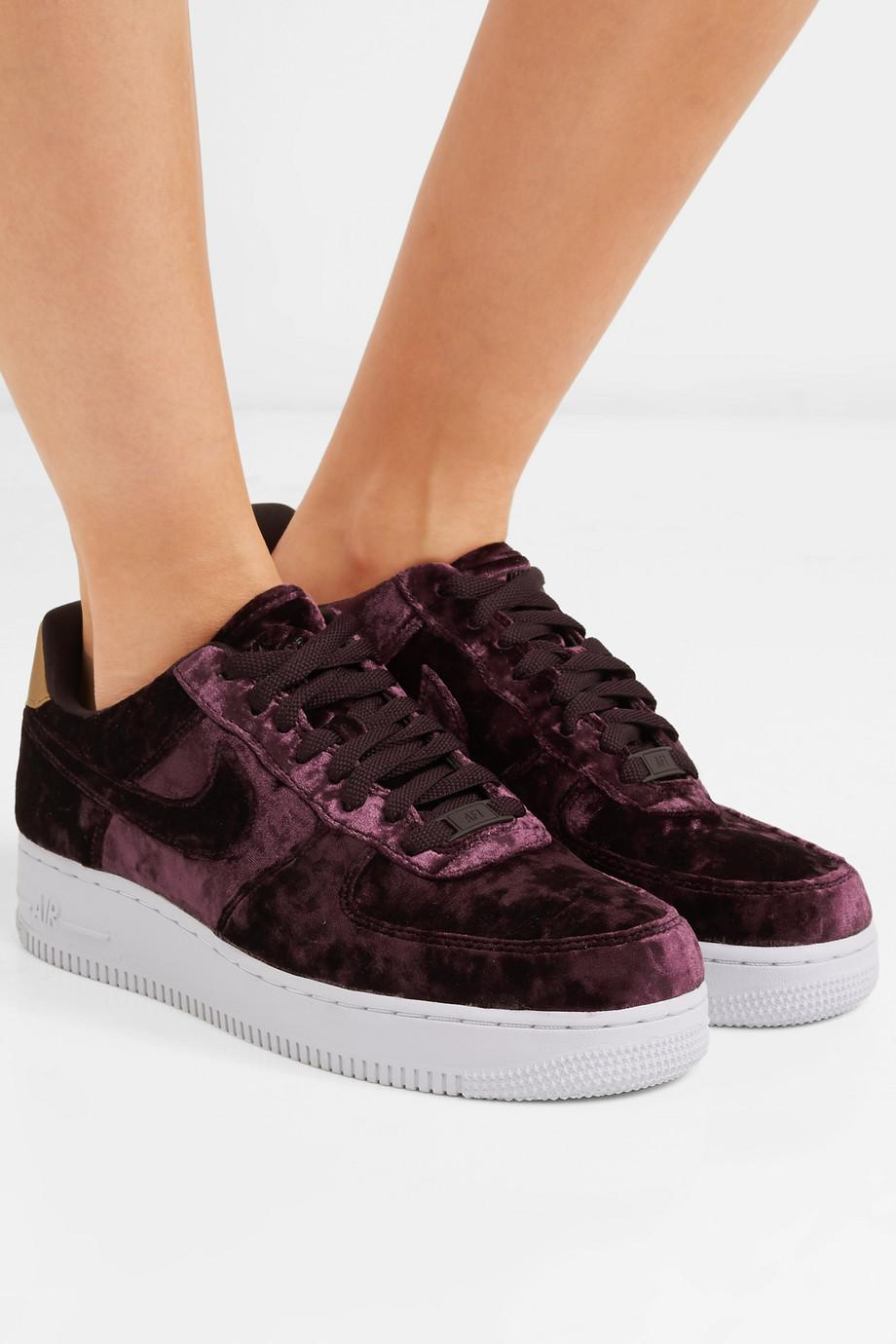 official photos 2432b be30b Nike Air Force 1 Metallic Faux Leather-trimmed Crushed-velvet ...