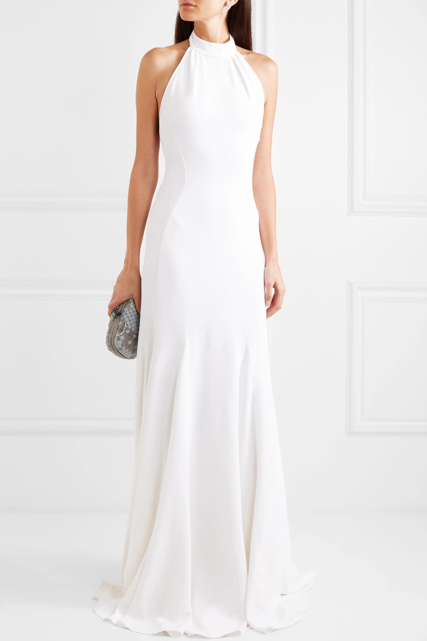 1cb47eef0768 Stella McCartney - White Stretch-crepe Halterneck Gown - Lyst. View  fullscreen