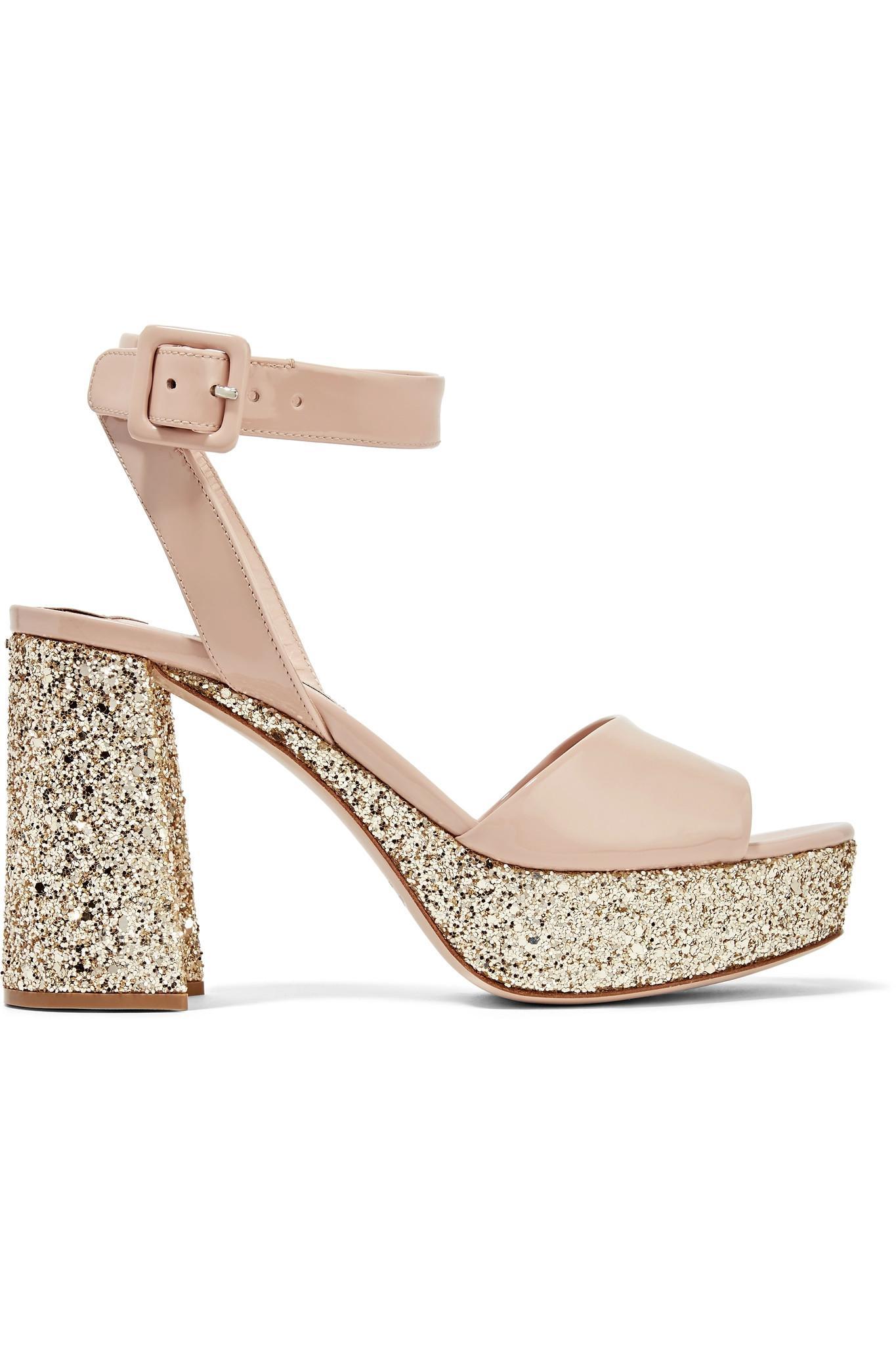 55e0f2ffd23 Miu Miu Glittered Patent-leather Platform Sandals in Pink - Lyst