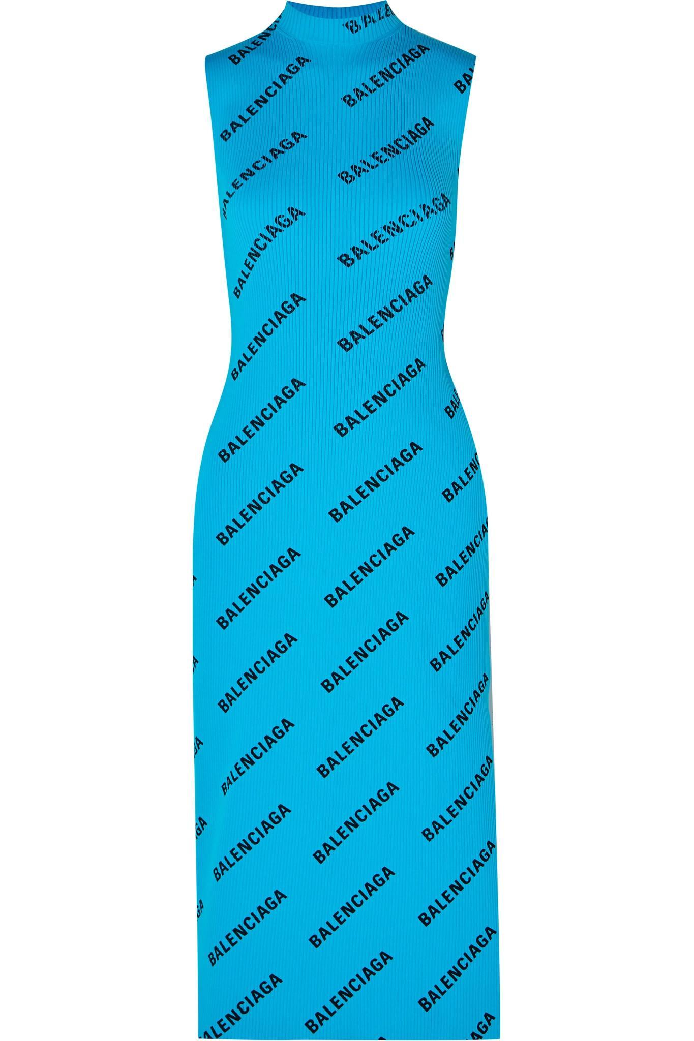 3d3aa35999d Balenciaga - Blue Wrap-effect Printed Ribbed-knit Midi Dress - Lyst. View  fullscreen