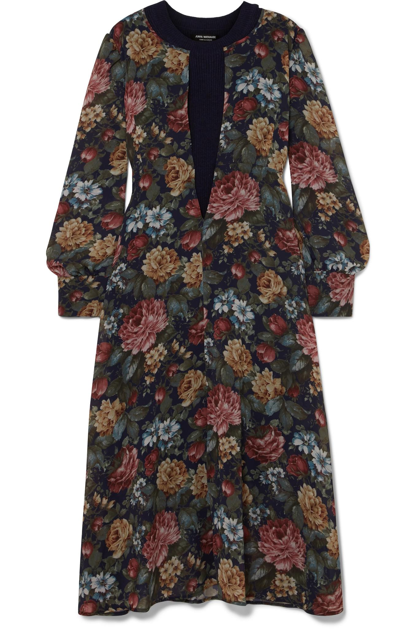 ed8074a1a35 Junya Watanabe - Blue Layered Ribbed Wool And Floral-print Chiffon Midi  Dress - Lyst. View fullscreen