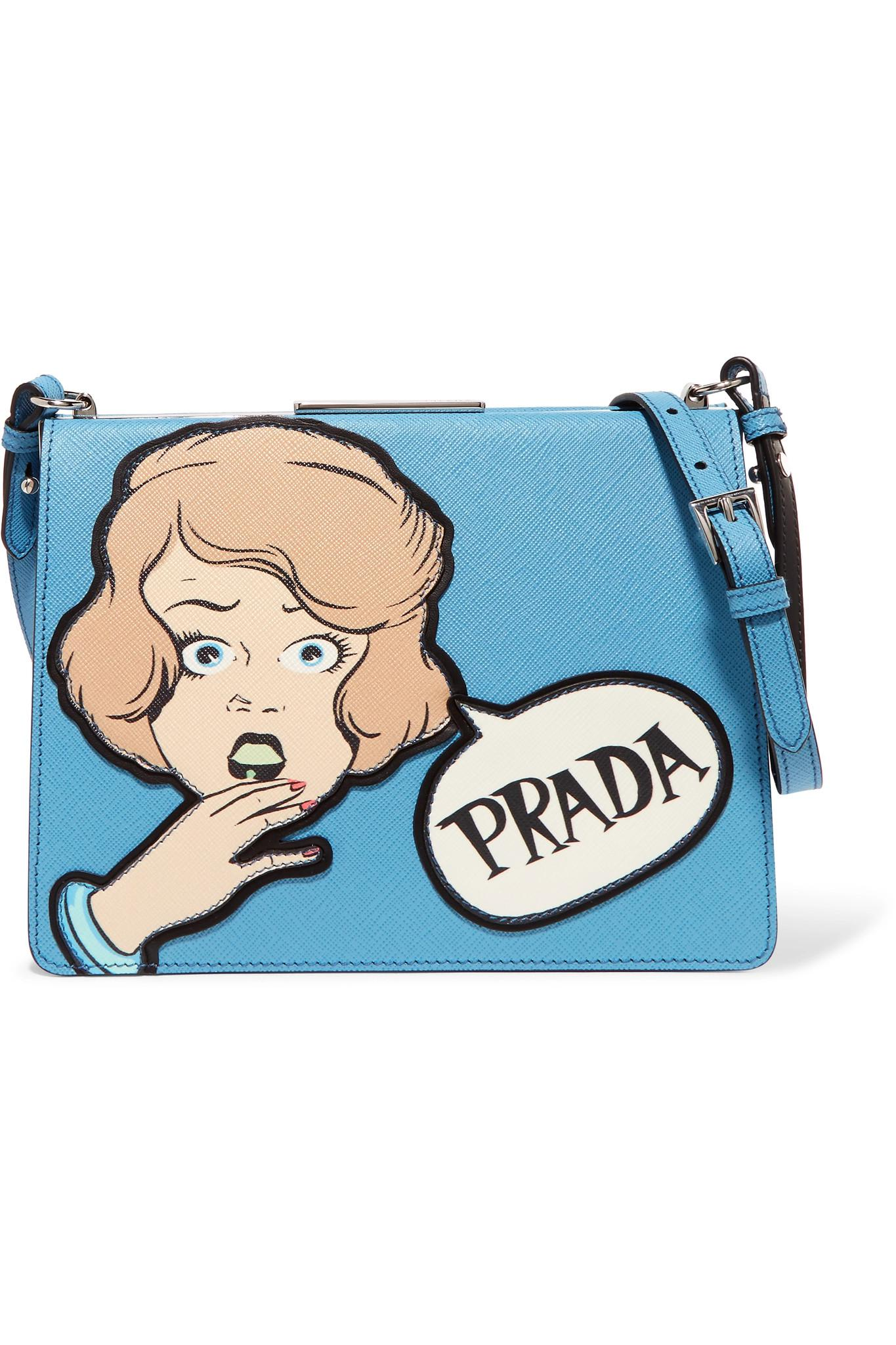 f18857a1b6c9 ... discount lyst prada frame printed textured leather shoulder bag in blue  37436 e6205