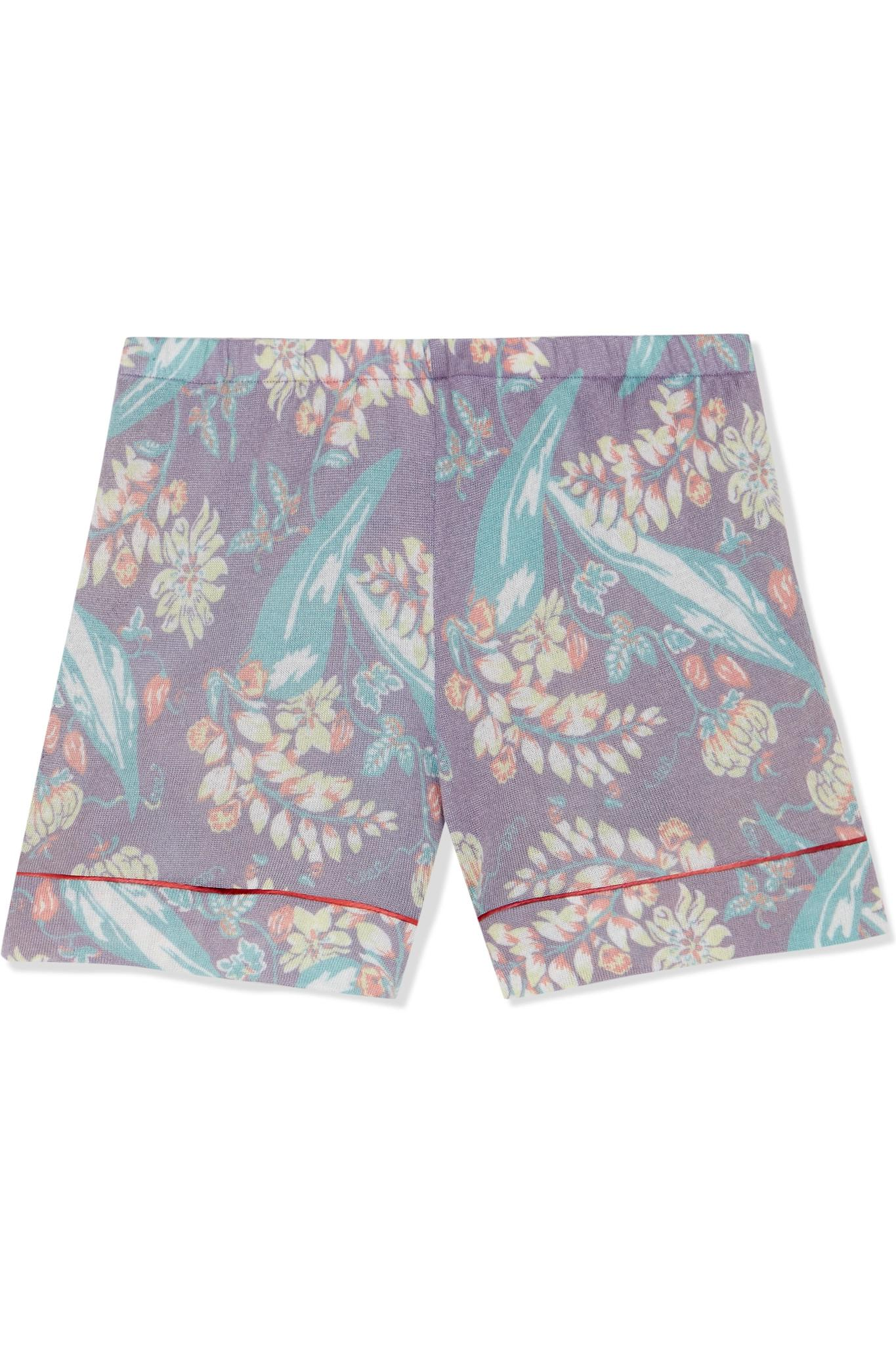 Printed Cashmere And Silk-blend Shorts - Purple The Elder Statesman uNLliLy