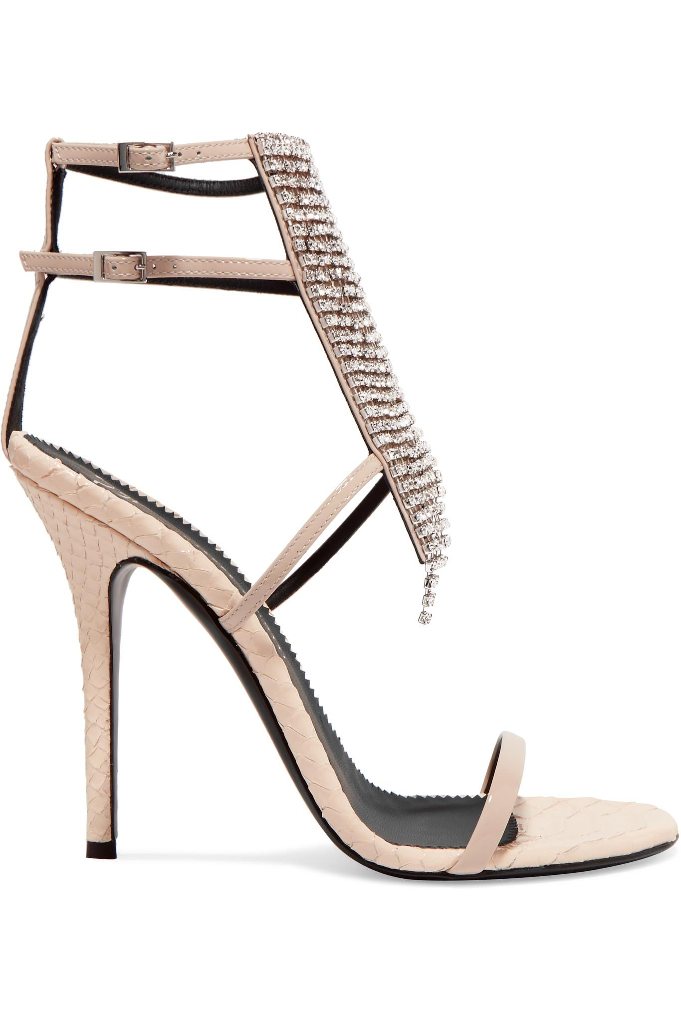 cfb1e411605d76 Giuseppe Zanotti. Women s Natural Alien Crystal-embellished Python-effect  And Patent-leather Sandals