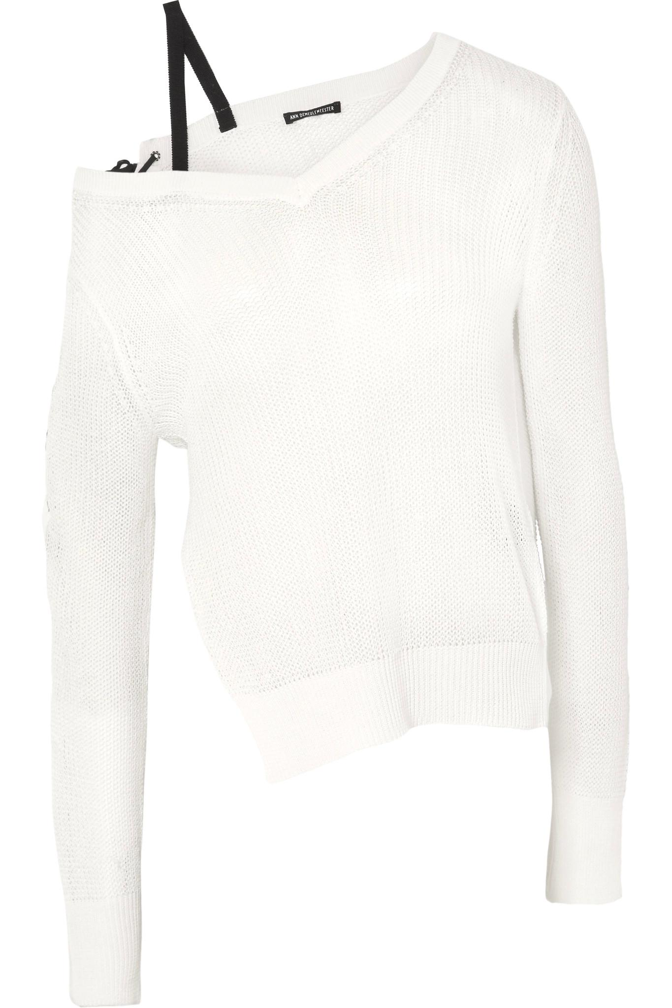 Asymmetric Lace-up Cotton Sweater - White Ann Demeulemeester For Sale Wholesale Price Outlet Store For Sale Original cz8sLc