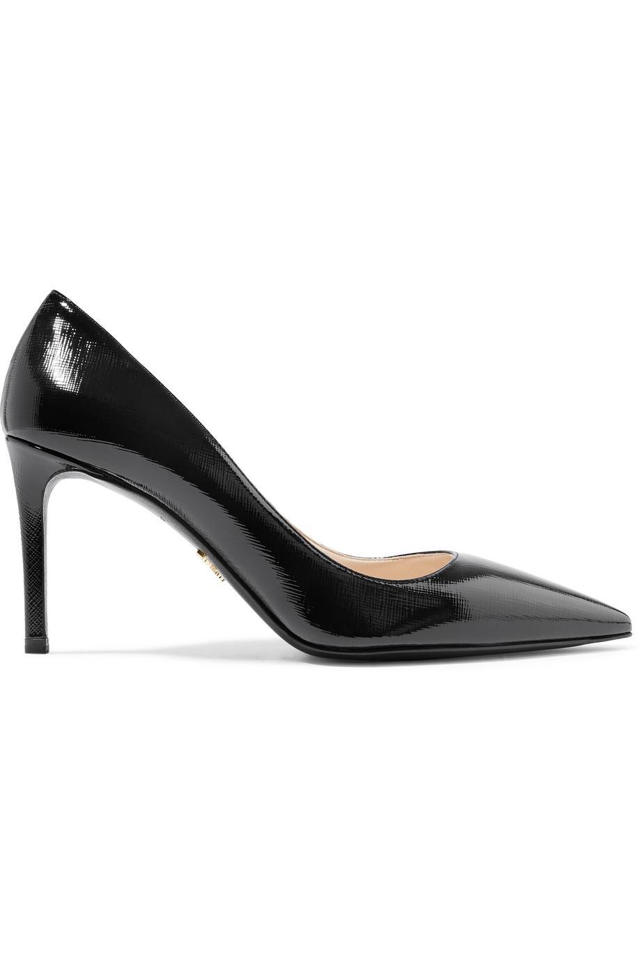 Glossed Textured-leather Pumps - Black Prada 4mYeZ