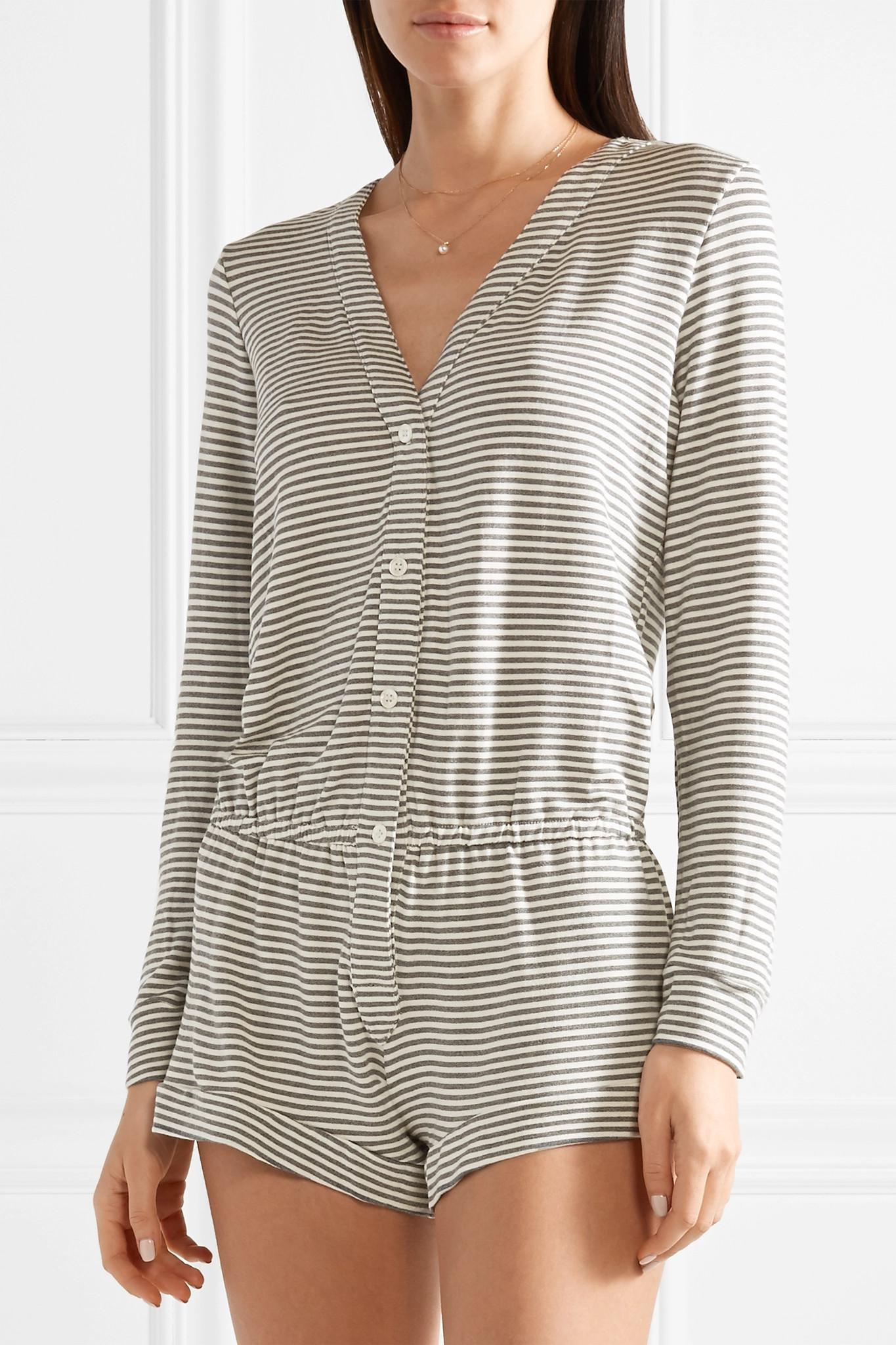 Sadie Striped Stretch-modal Jersey Playsuit - Gray Eberjey Clearance Reliable The Cheapest DttXP3