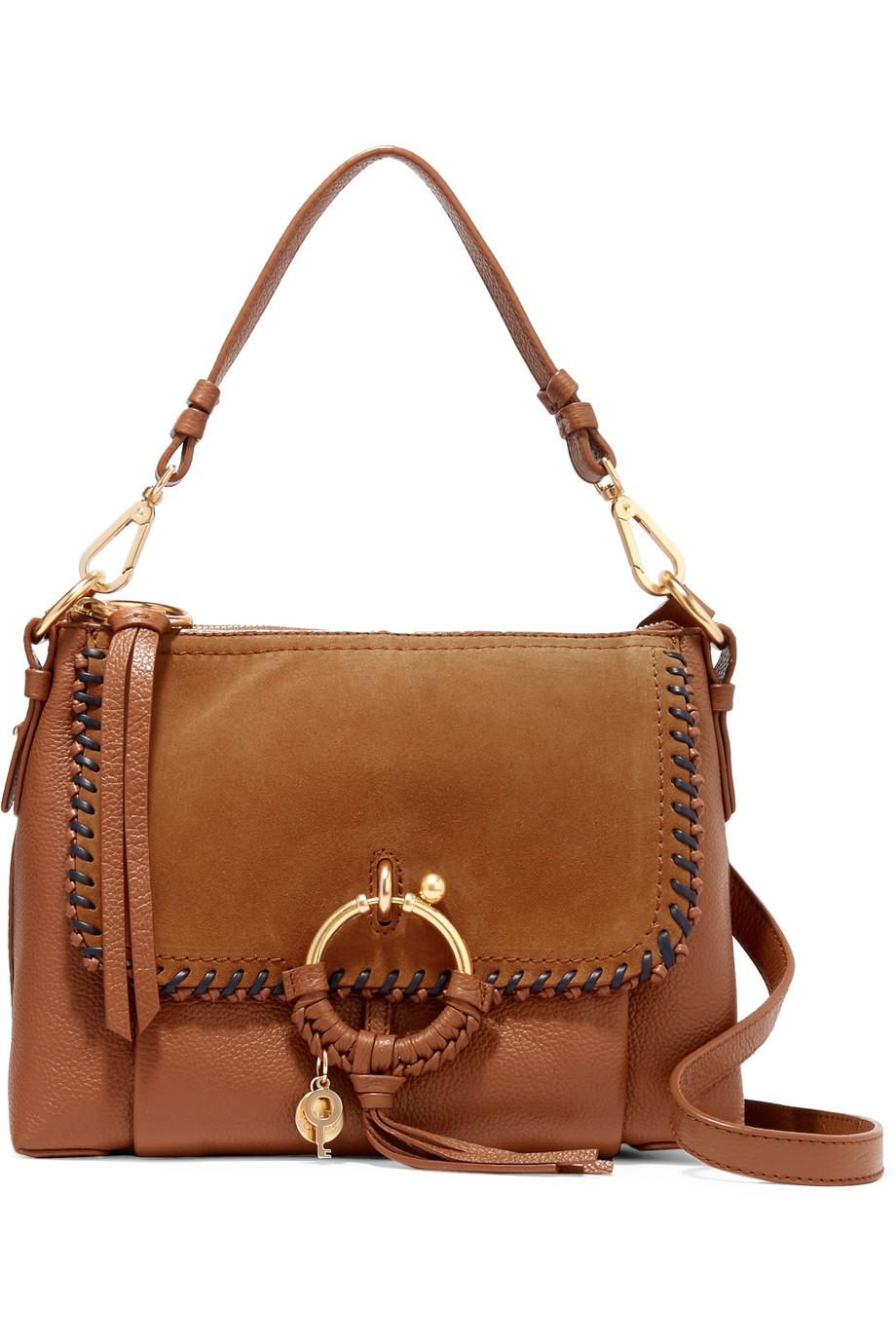 Joan Small Suede-paneled Textured-leather Shoulder Bag - Tan See By Chlo ZRCym