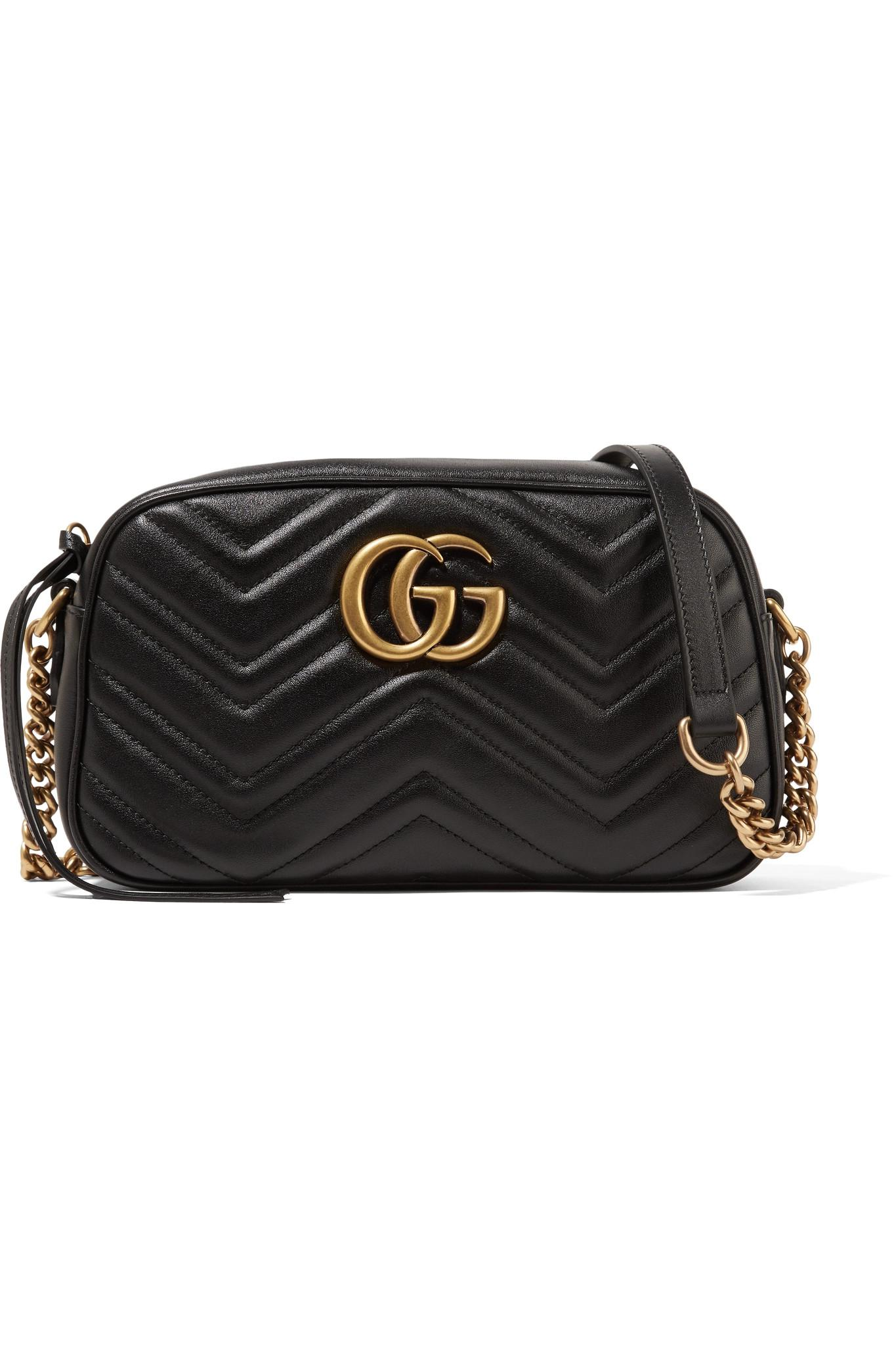 a00eb14b2d2 Gucci. Women s Black Gg Marmont Camera Small Quilted Leather Shoulder Bag