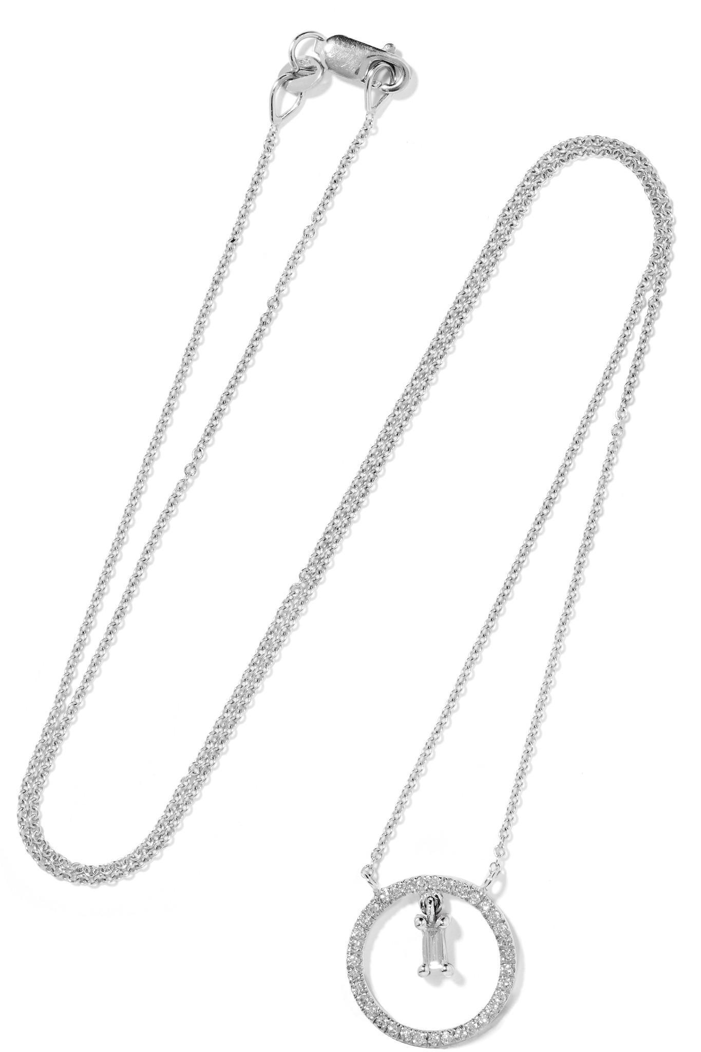 Ileana Makri Mini Cross 18-karat White Gold Diamond Necklace FUPXNg