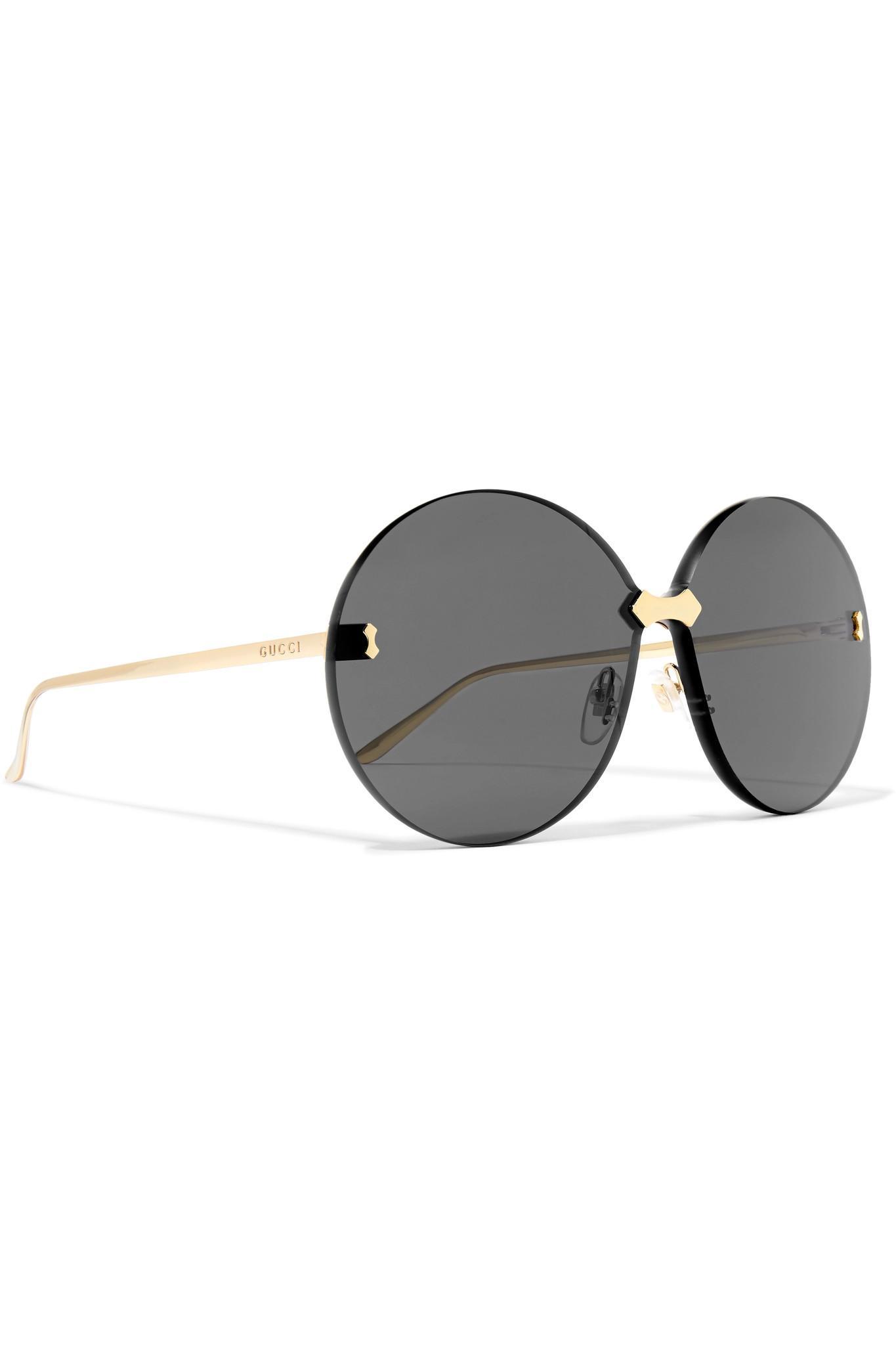 9b8d52ebabc Gucci - Gray Round-frame Gold-tone Sunglasses - Lyst. View fullscreen