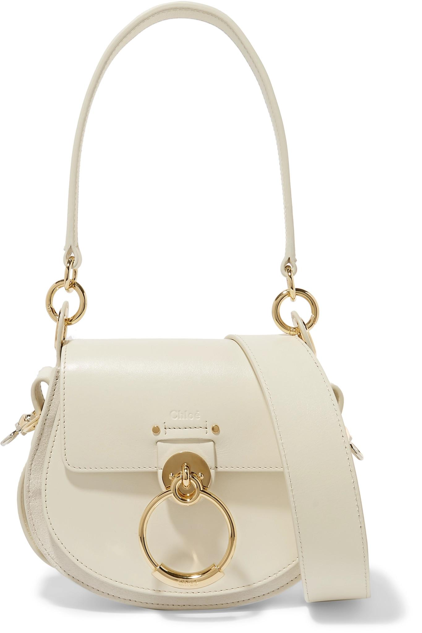 5d73e9a4b05 Lyst - Chloé Tess Small Leather And Suede Shoulder Bag in Natural