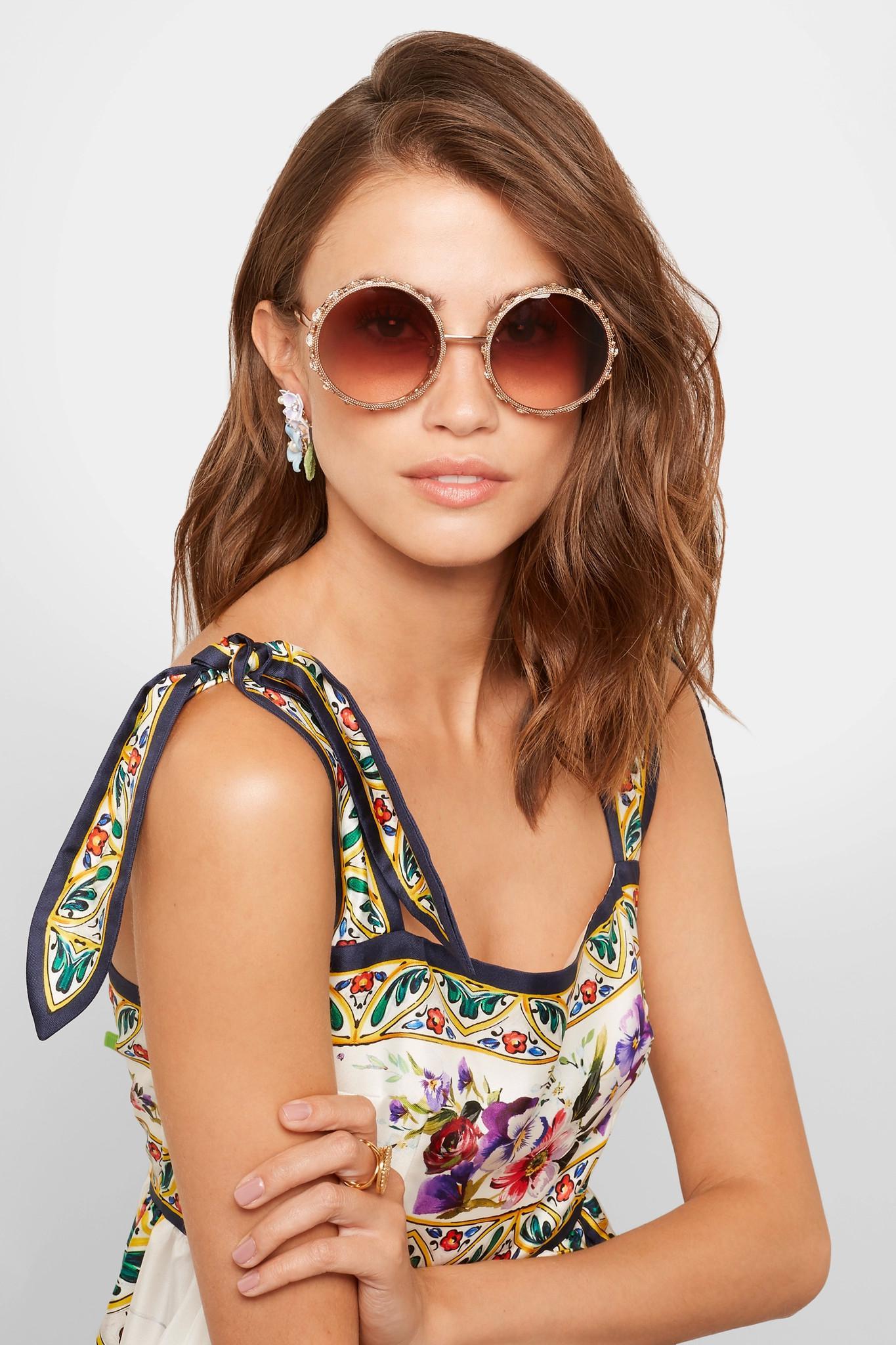 82351824e54 Lyst - Dolce   Gabbana Swarovski Crystal-embellished Round-frame ...