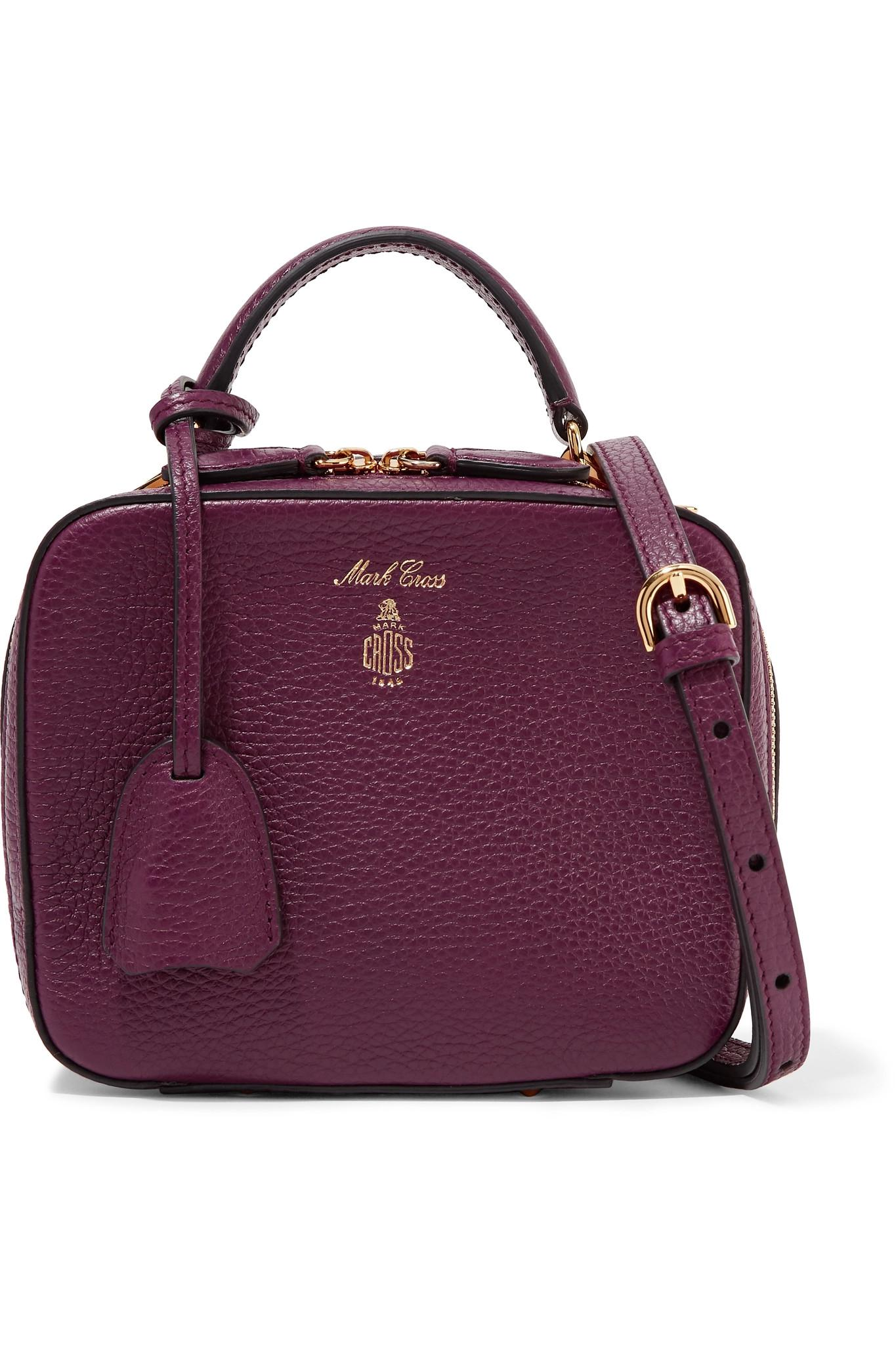 Lyst - Mark Cross Laura Baby Textured-leather Shoulder Bag in Purple 4fe4432a64