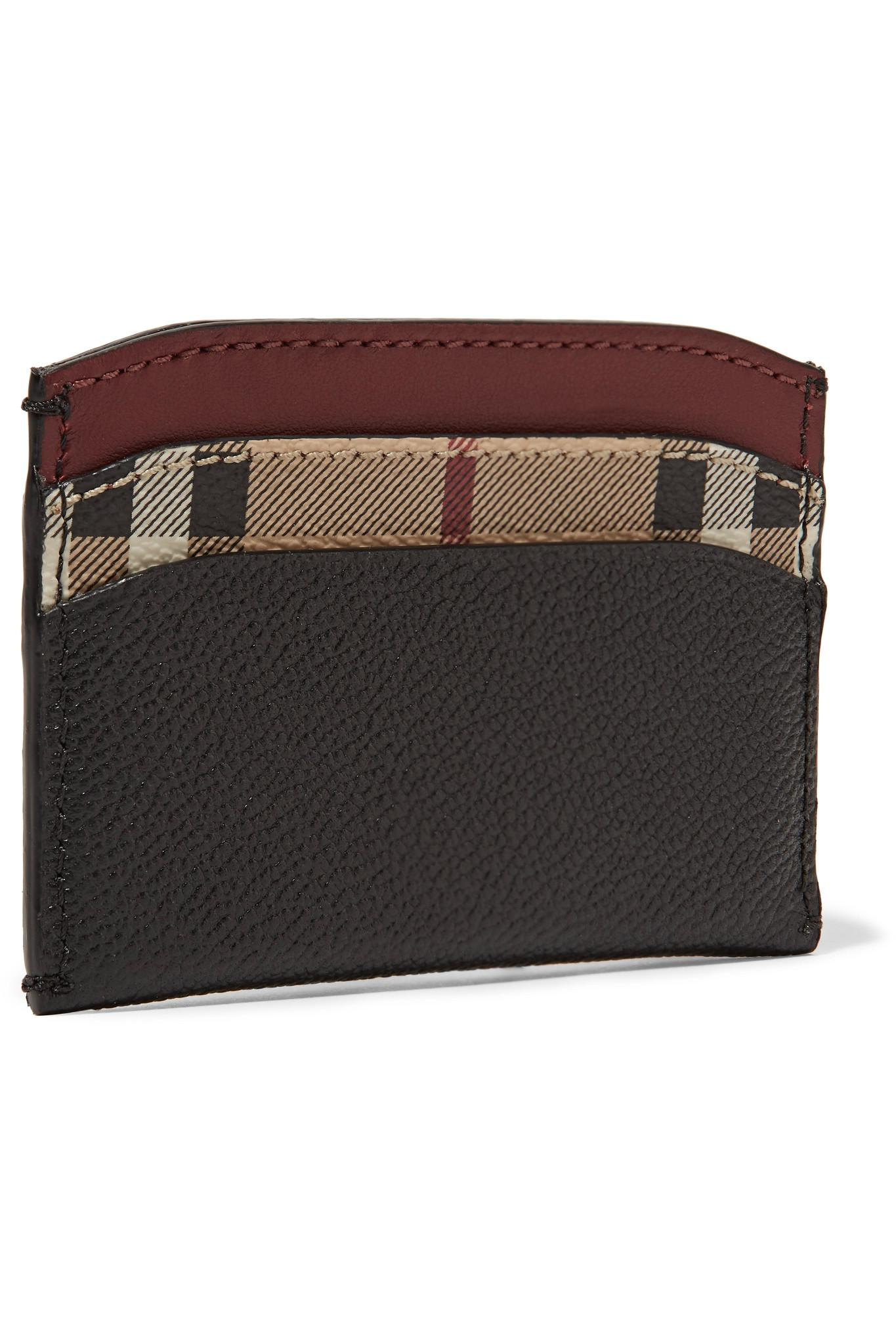 Burberry Leather And Checked Coated Canvas Cardholder Free Shipping Limited Edition 3zOuO