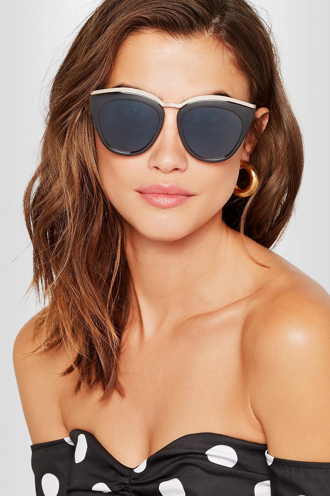 1799c40eb95da Le Specs Eye Slay Cat-eye Acetate And Gold-tone Sunglasses in Black ...