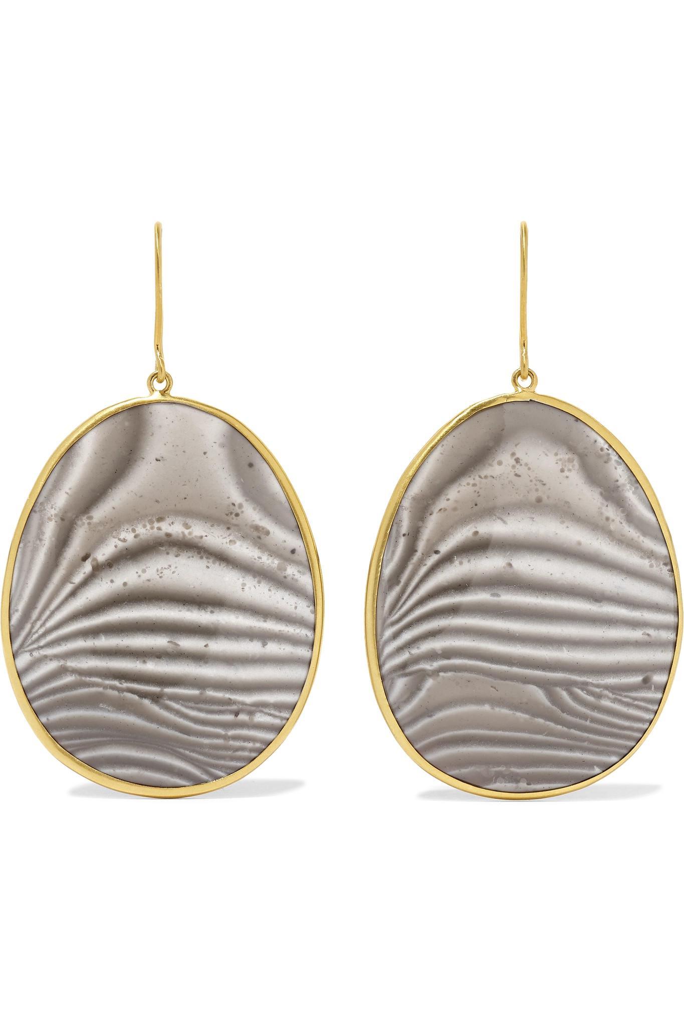 0ccde6689 Lyst - Pippa Small 18-karat Gold Agate Earrings in Metallic