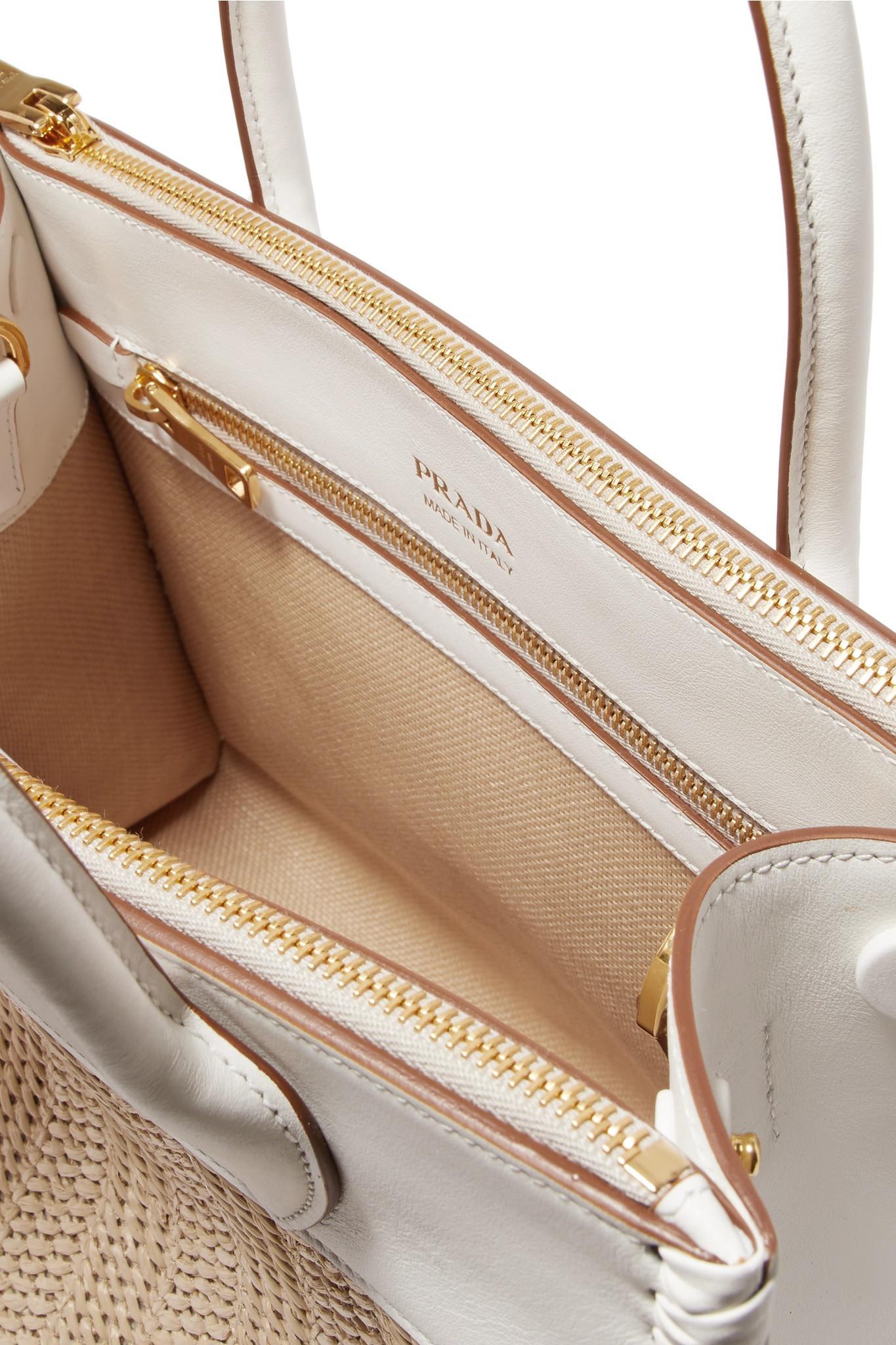 735365370f7e Prada Paradigme Medium Raffia And Leather Tote in White - Lyst