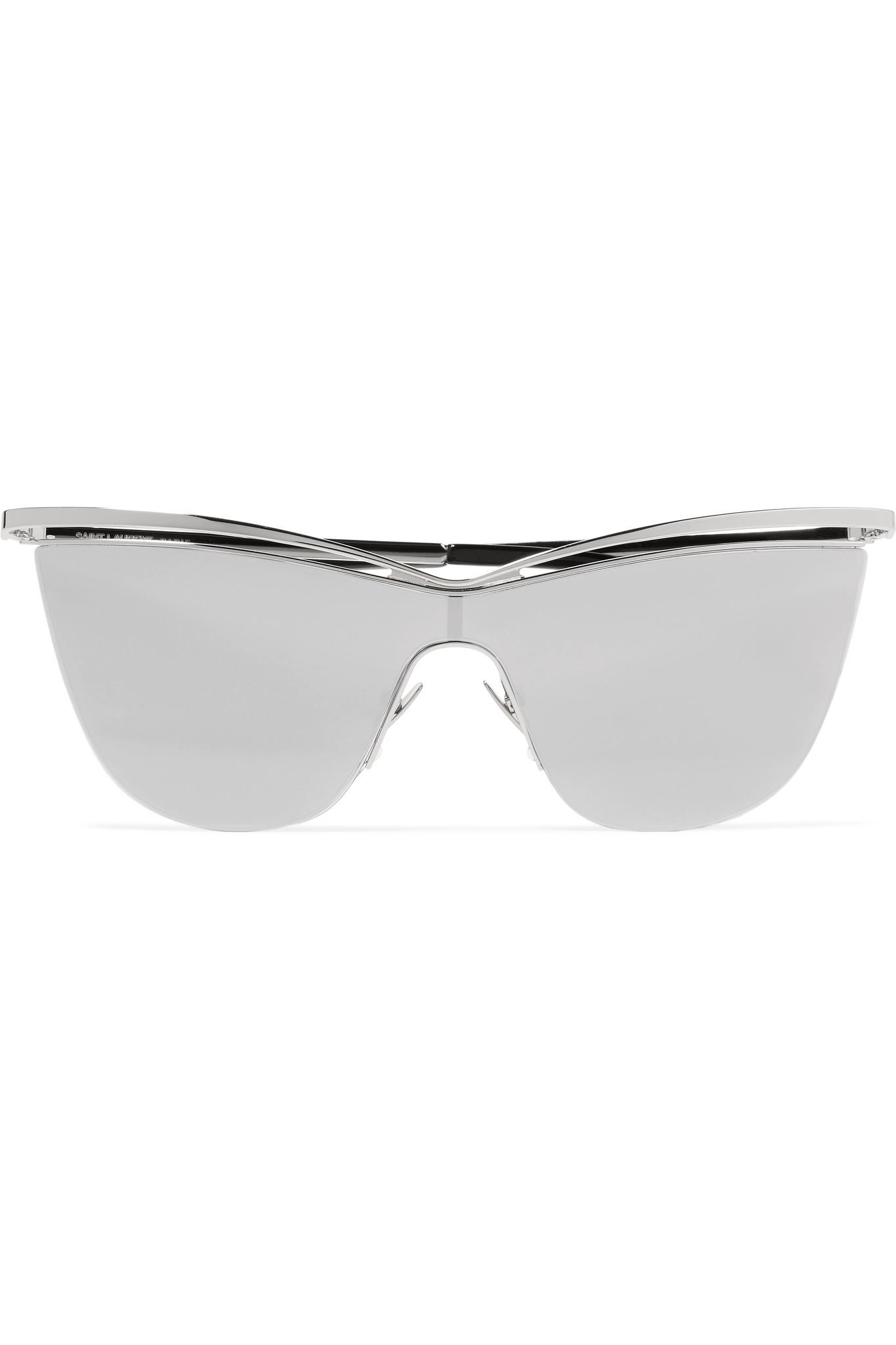 6c9ed62a5f34e Lyst - Saint Laurent Cat-eye Silver-tone And Acetate Mirrored ...