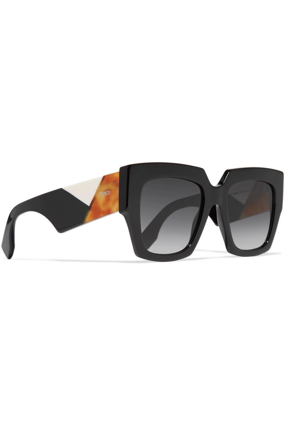 fbabf865d8 Fendi Lyst sol Gafas en marco negro acetato de de de cuadrado de awz8qrB5nz