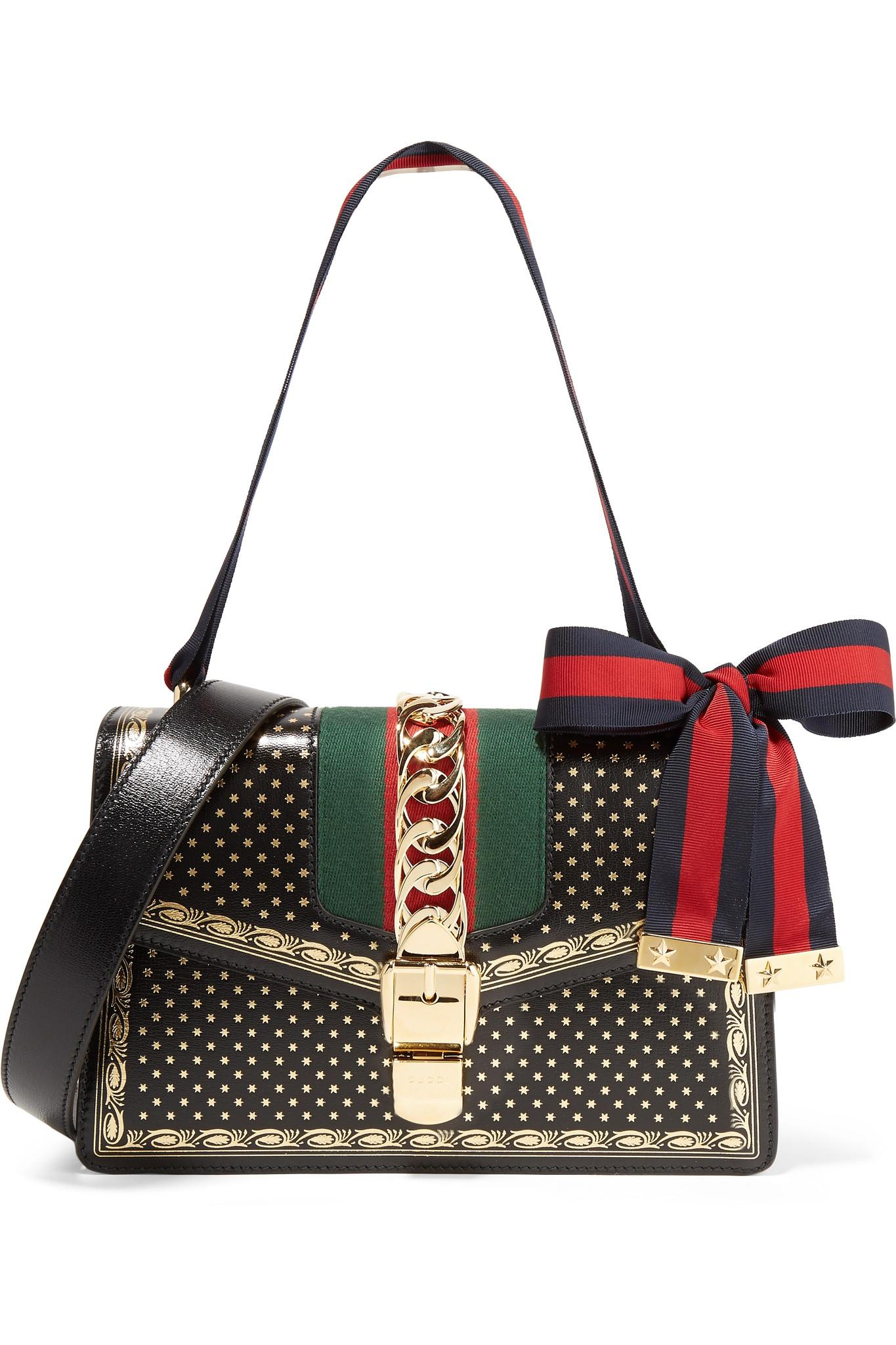 4edede8bc772c Gucci Sylvie Small Chain-embellished Printed Leather Shoulder Bag in ...