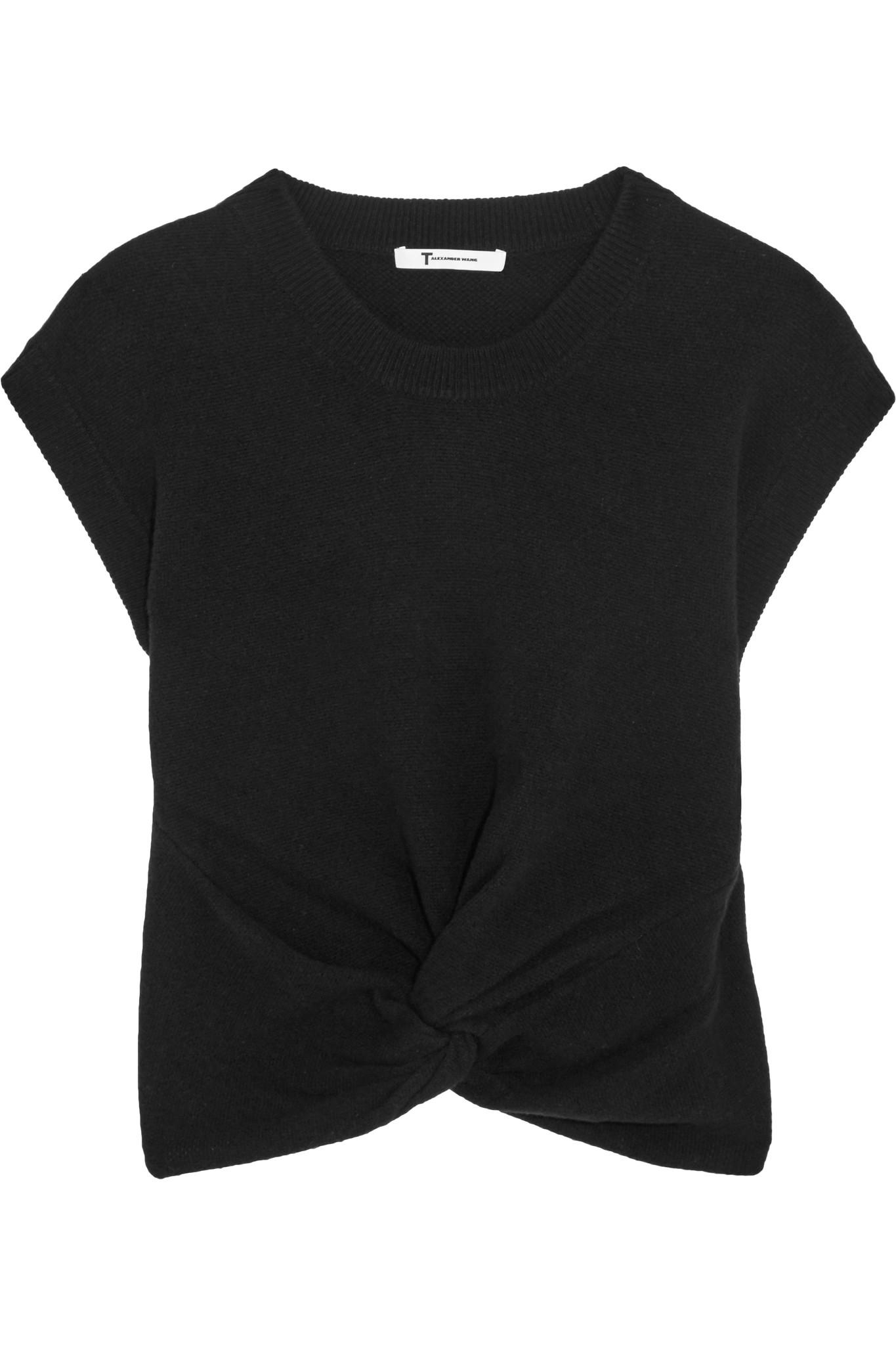T By Alexander Wang Woman Mélange Wool And Cashmere-blend Sweater Black Size L Alexander Wang 2018 For Sale jjOGmsZnf