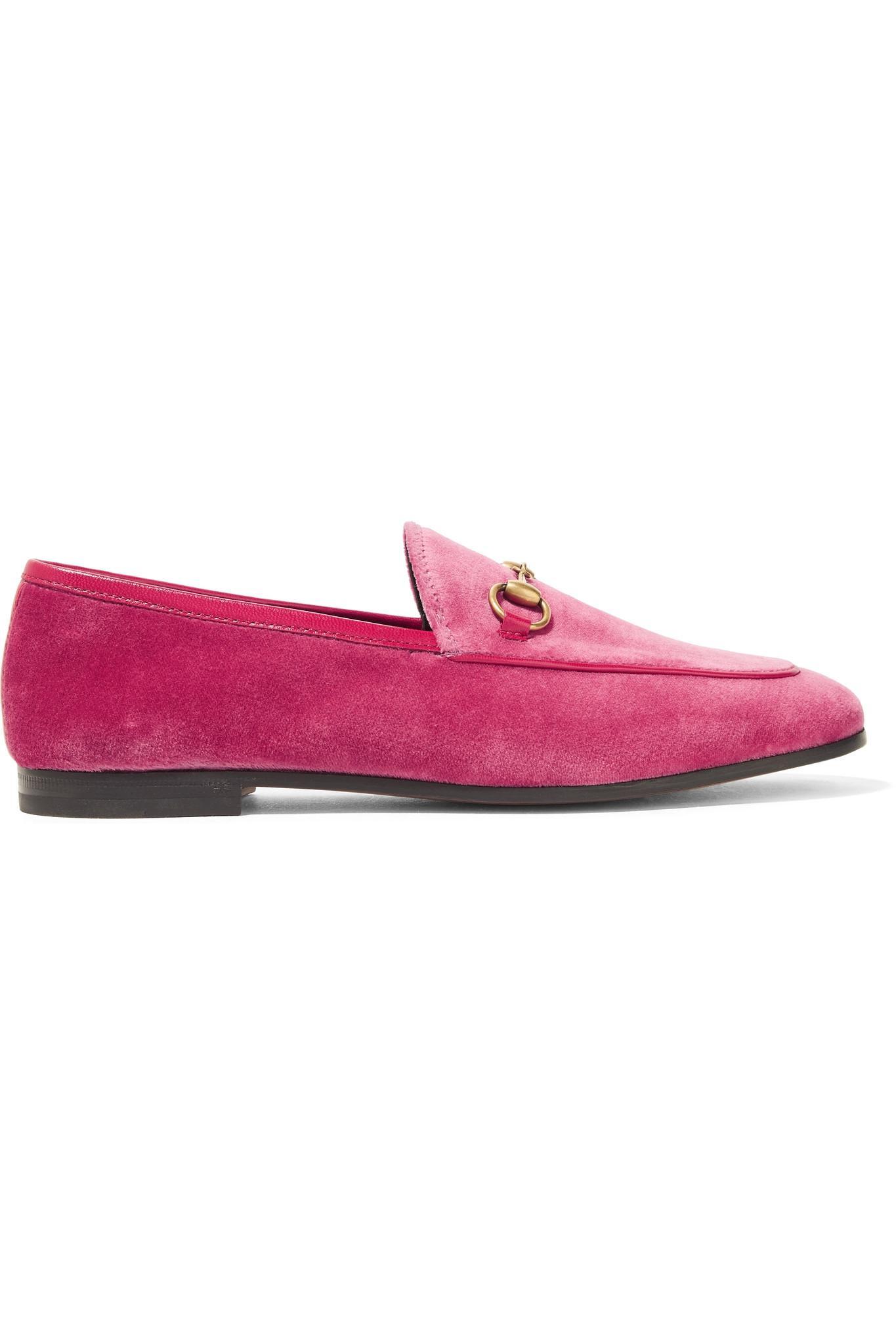 7cf3ba4ad6e Gucci Jordaan Horsebit-detailed Leather-trimmed Velvet Loafers in ...