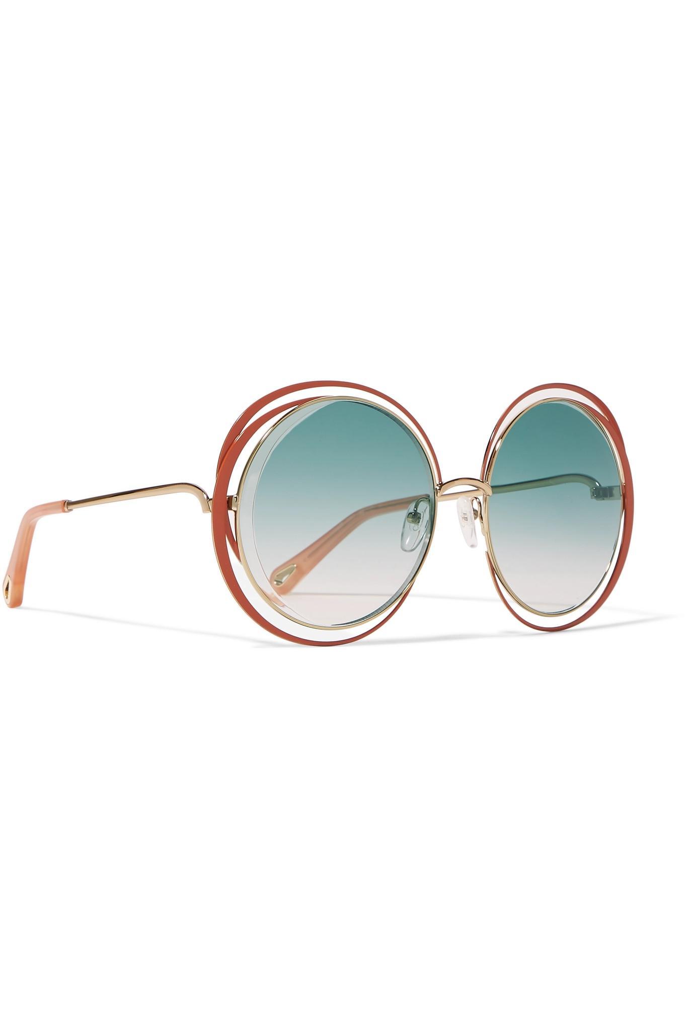 3a0c3d179bf1 Chloé - Blue Carlina Oversized Round-frame Gold-tone Sunglasses - Lyst.  View fullscreen
