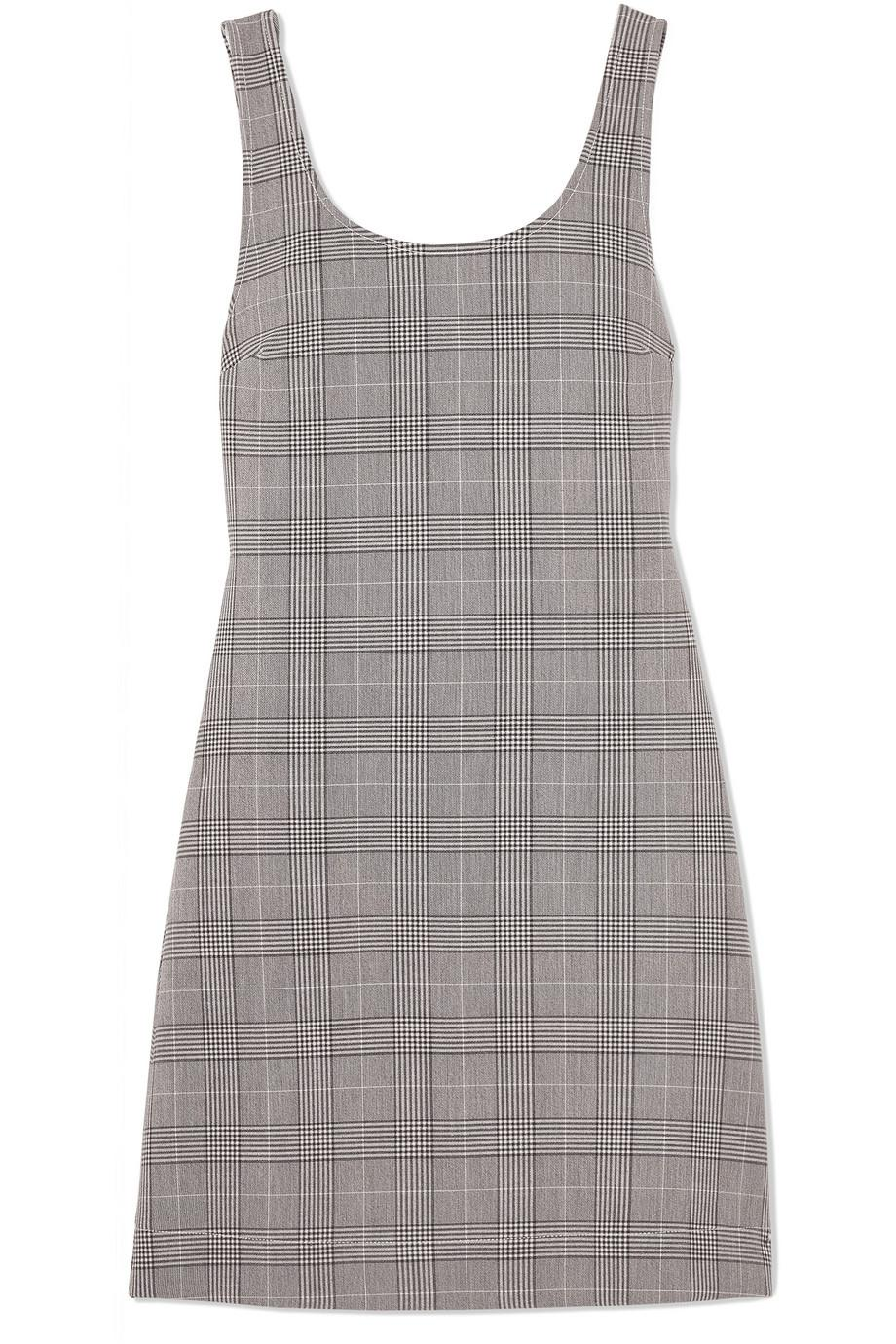 Checked Stretch-woven Mini Dress - Gray Ganni lTaHT9e