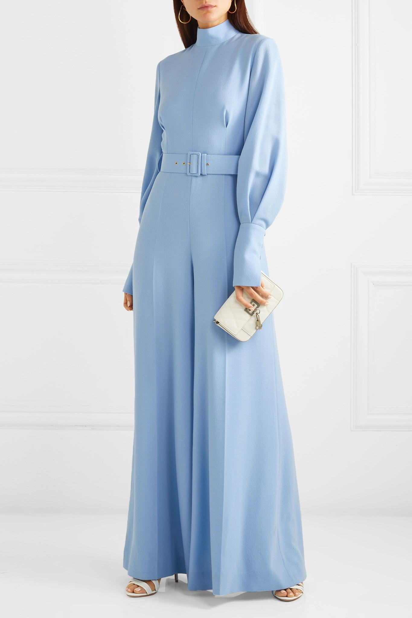 ff1bbad641 Emilia Wickstead - Blue Elvis Belted Wool-crepe Jumpsuit - Lyst. View  fullscreen