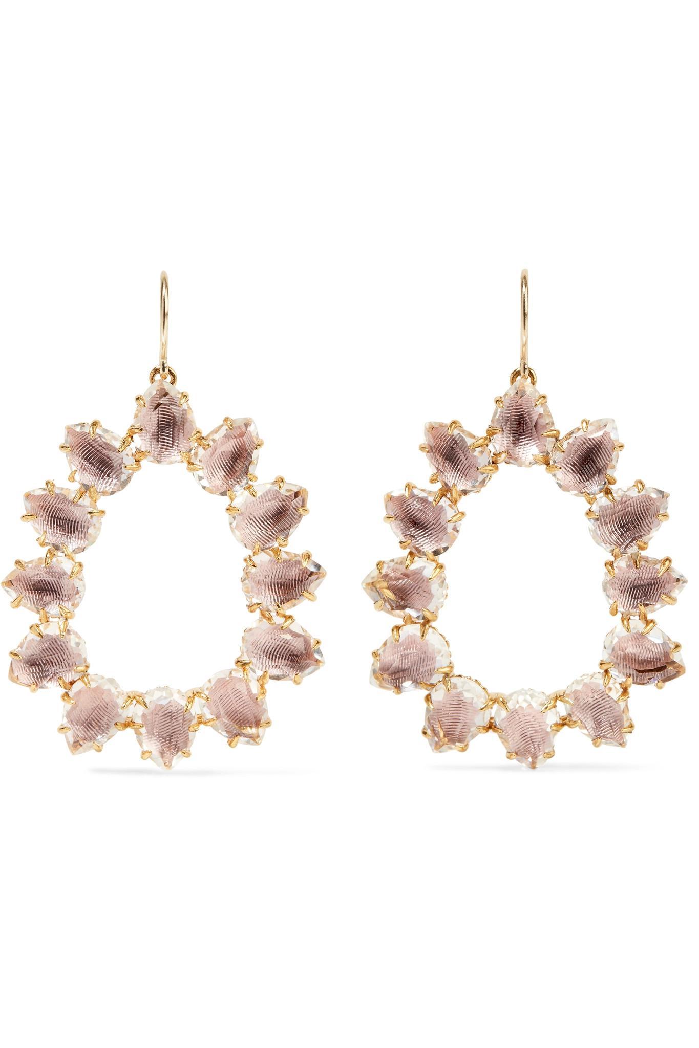 Larkspur & Hawk Caterina Small Frame Earrings, White Quartz