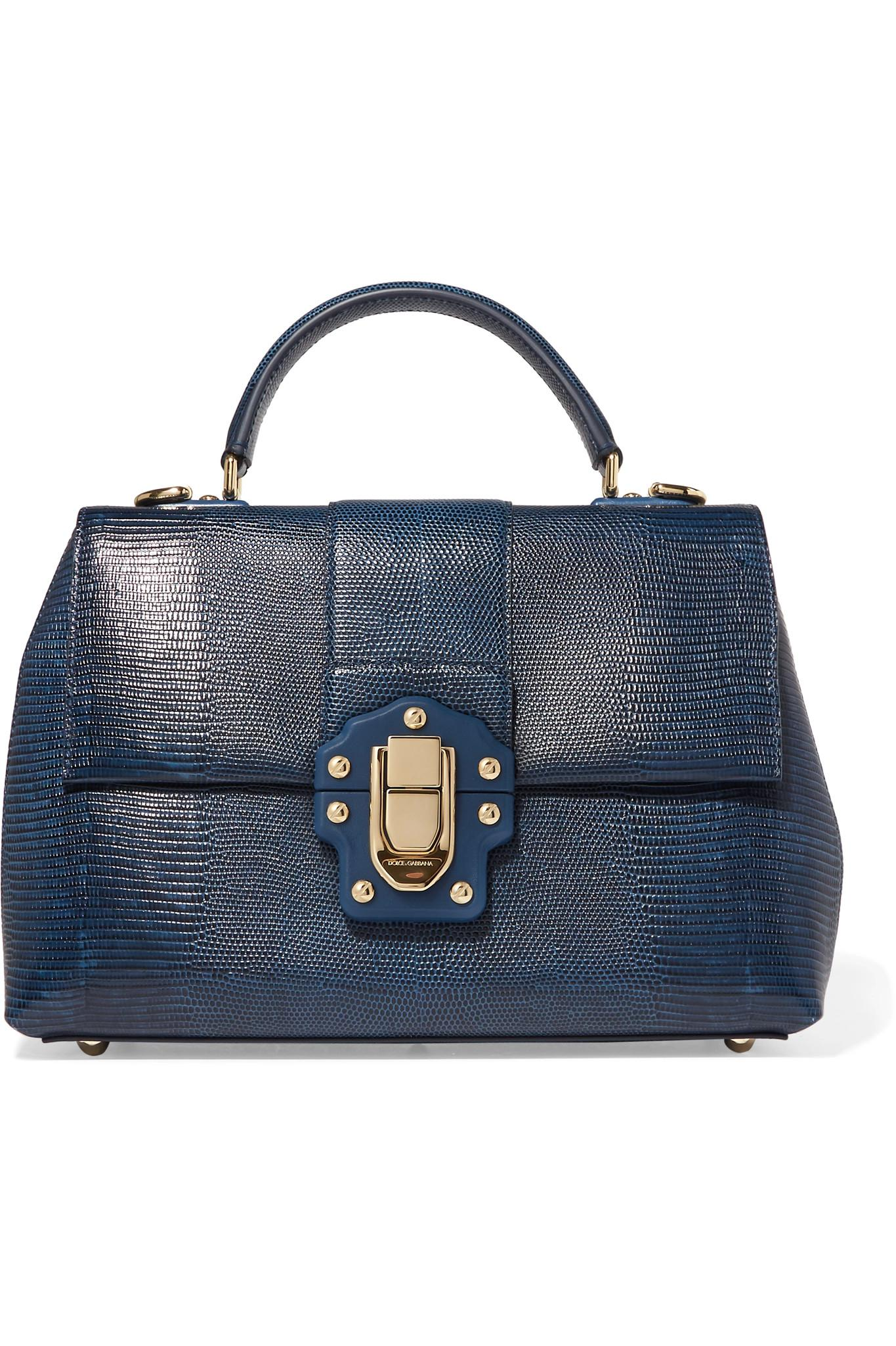 ae101de6f9 Lyst - Dolce   Gabbana Lucia Lizard-effect Leather Tote in Blue