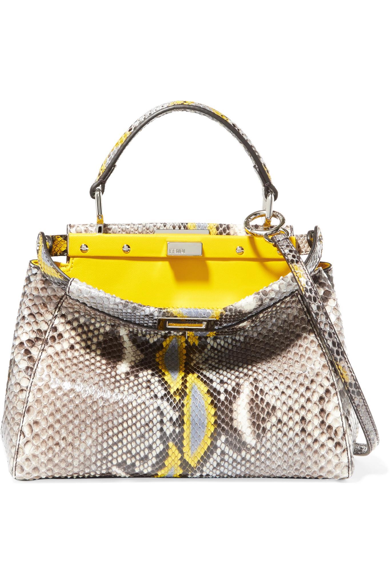 52004e3d64 discount fendi peekaboo python leather handbag. ea788 24d4b; australia fendi  peekaboo mini python shoulder bag in yellow lyst 414e2 f04bf