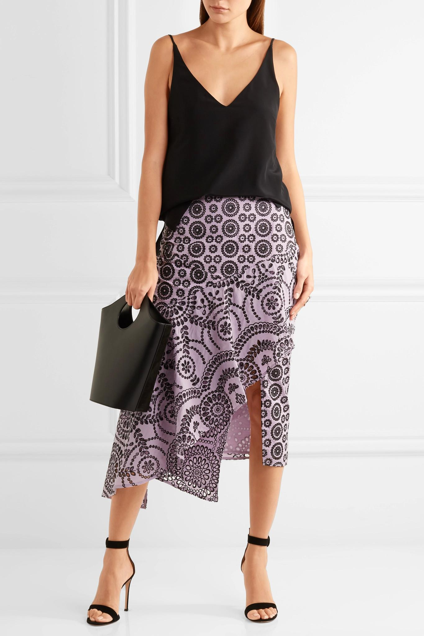 Clearance Find Great Cleary Asymmetric Broderie Anglaise Cotton Midi Skirt - Lilac Topshop Clearance Store For Sale Clearance Cheap Price RwFN844GF