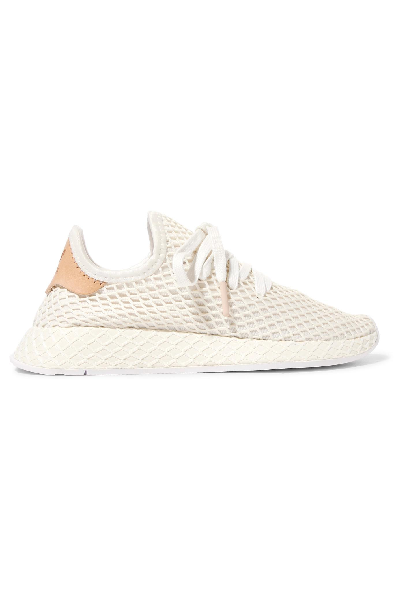 7300458a1930c adidas Originals. Women s White Deerupt Runner Leather-trimmed Mesh Sneakers