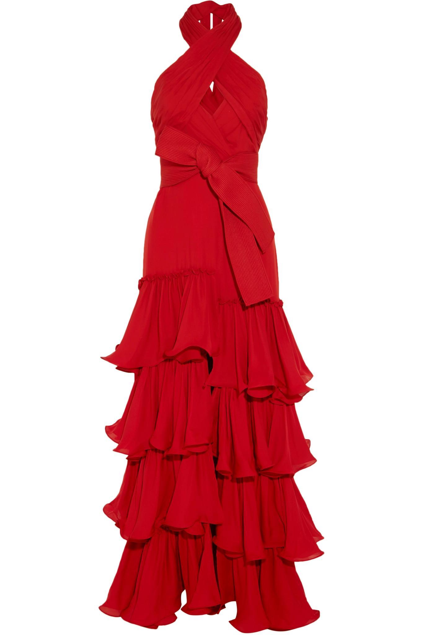Johanna Ortiz Halterneck Ruffled Silk Georgette Gown In Red Lyst Clarette Wedges Coraline Black Gallery