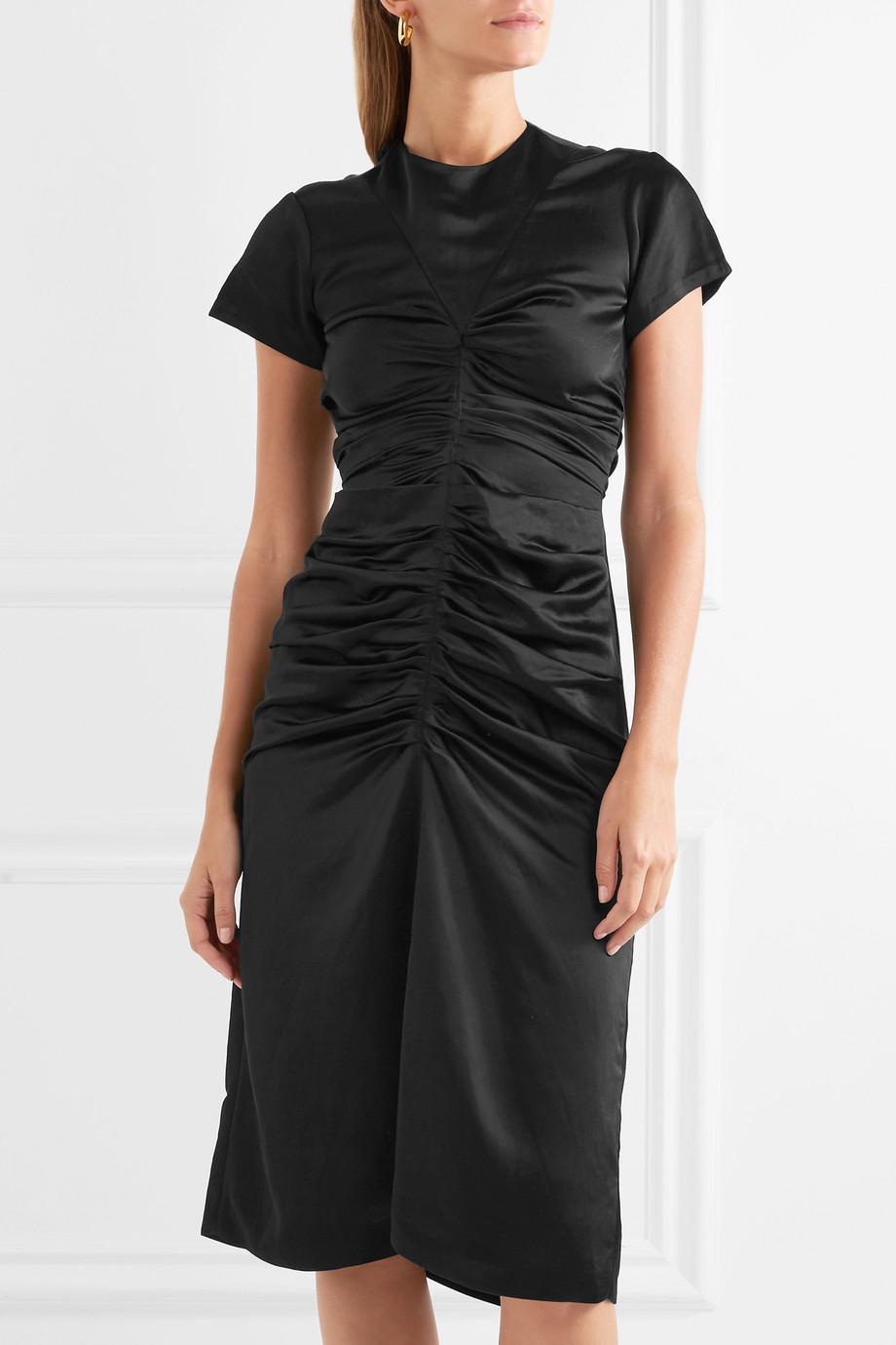 Else Ruched Satin Midi Dress - Black Isabel Marant fqB65Uwj