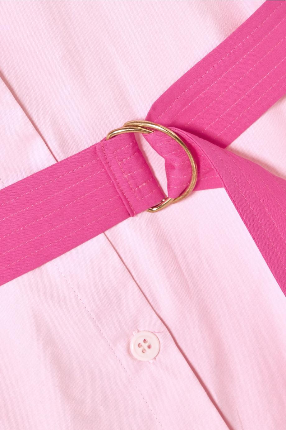 Belted Cotton-poplin Shirt Dress - Pink MDS Stripes NDo4Yhq
