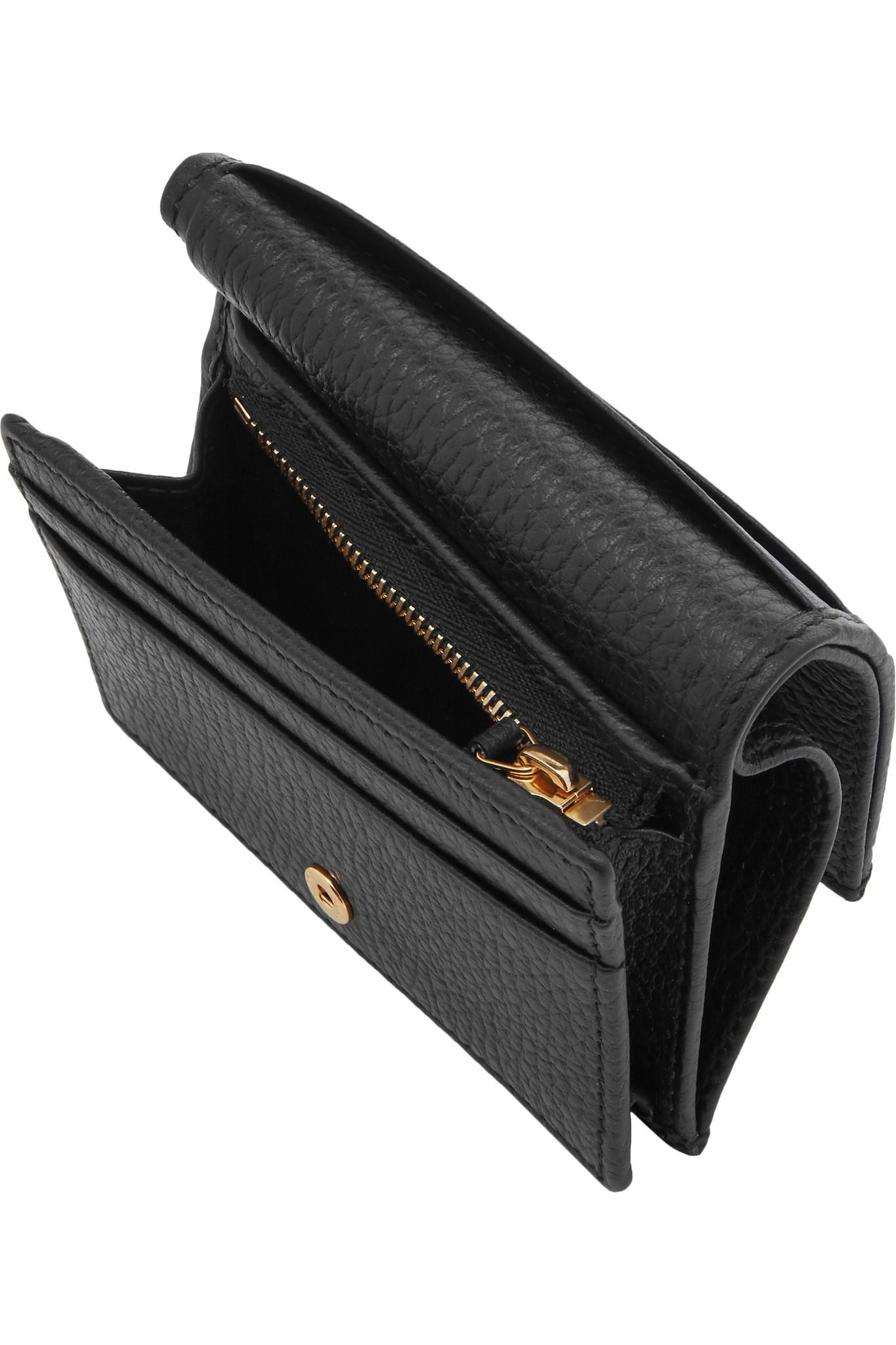 9b5897025541 Gucci Marmont Petite Textured-leather Wallet in Black - Lyst
