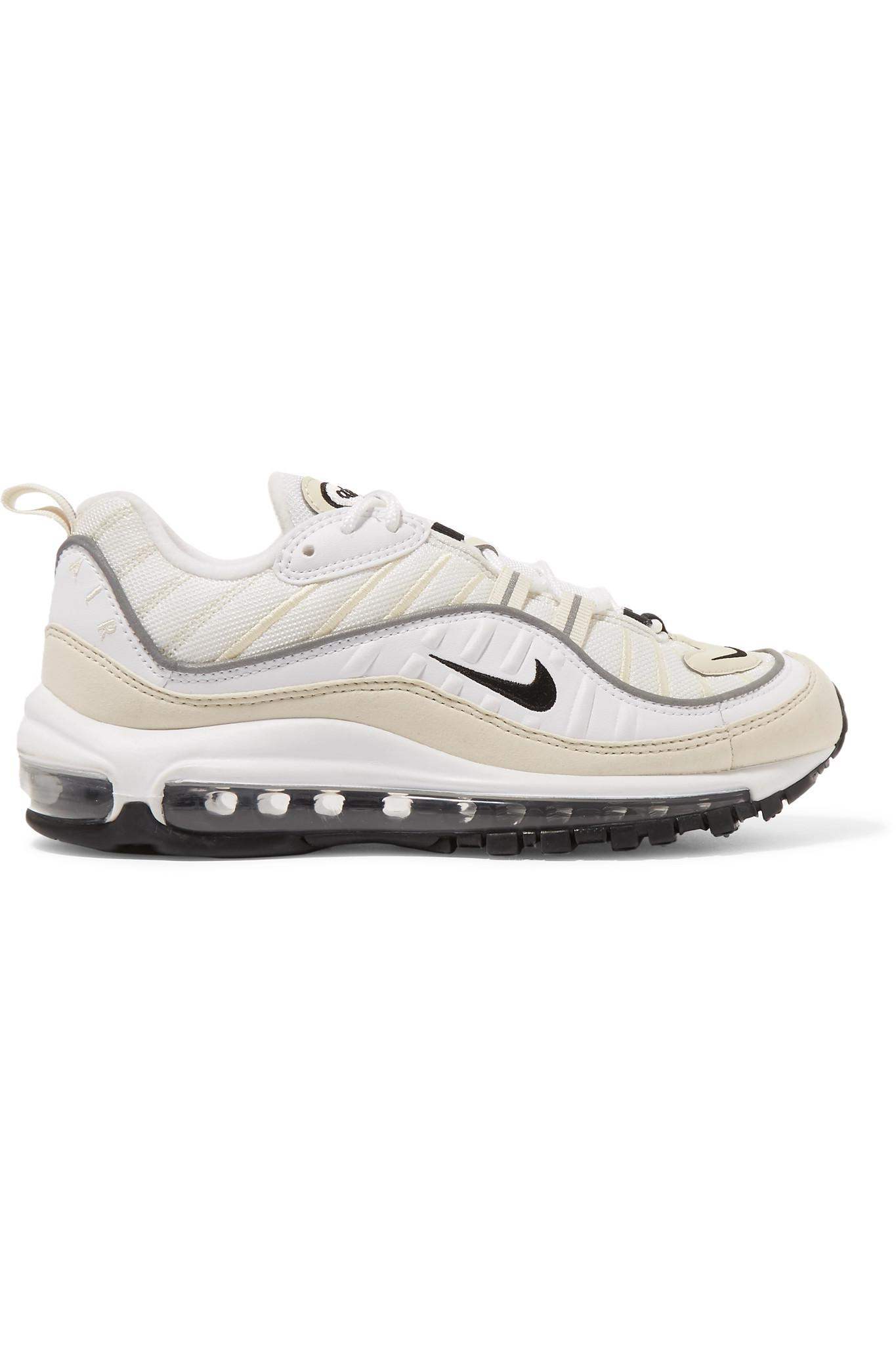301d288035 Nike Air Max 98 Leather And Nubuck-trimmed Mesh Sneakers in White - Lyst