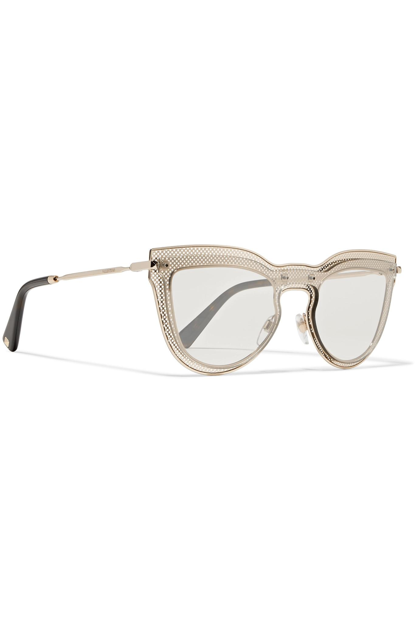 3a91b4d3680 Lyst - Valentino Cat-eye Layered Acetate And Gold-tone Optical ...