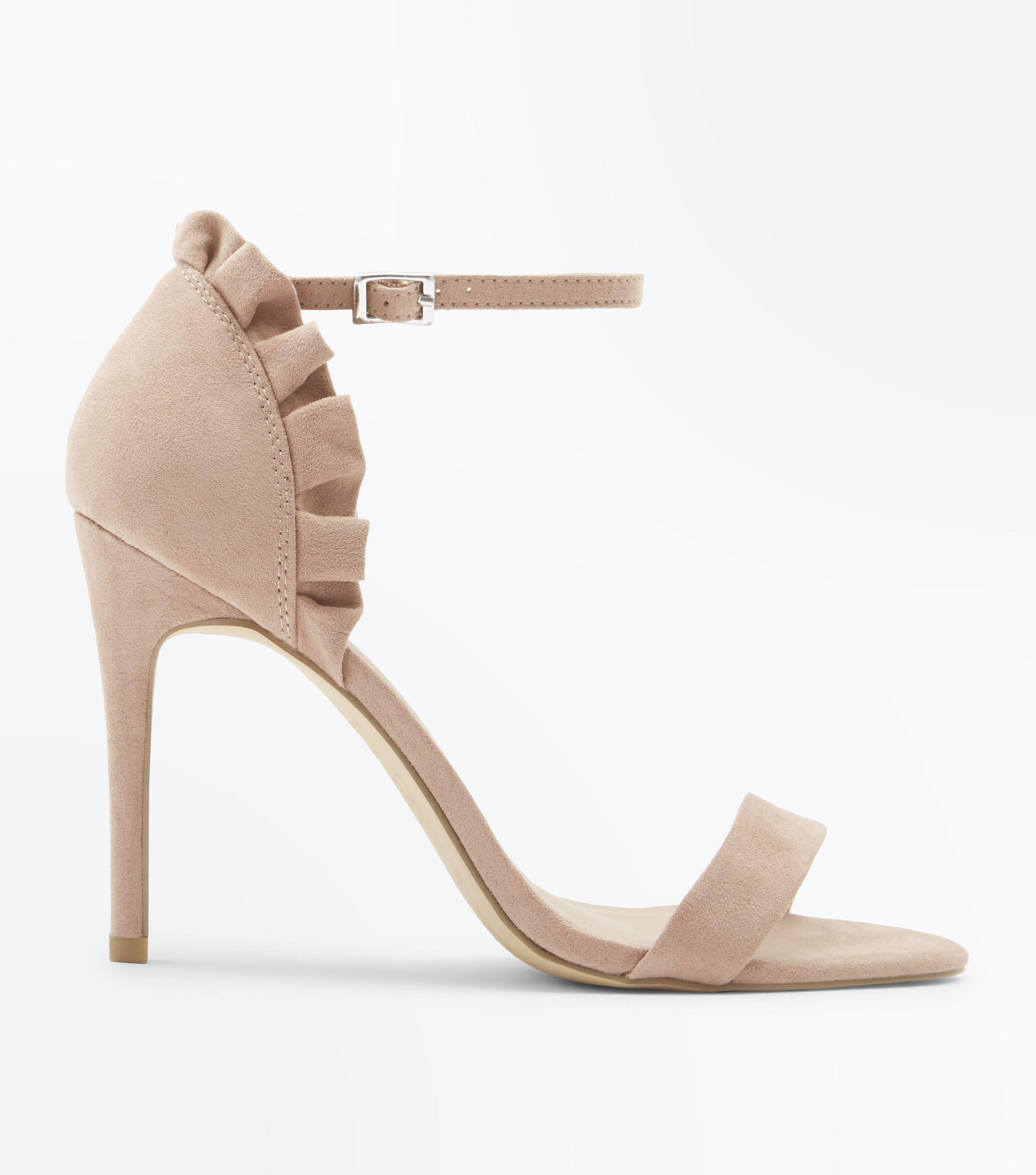 5c559636daf4 New Look Nude Suedette Frill Back Stiletto Heel Sandals in Natural ...
