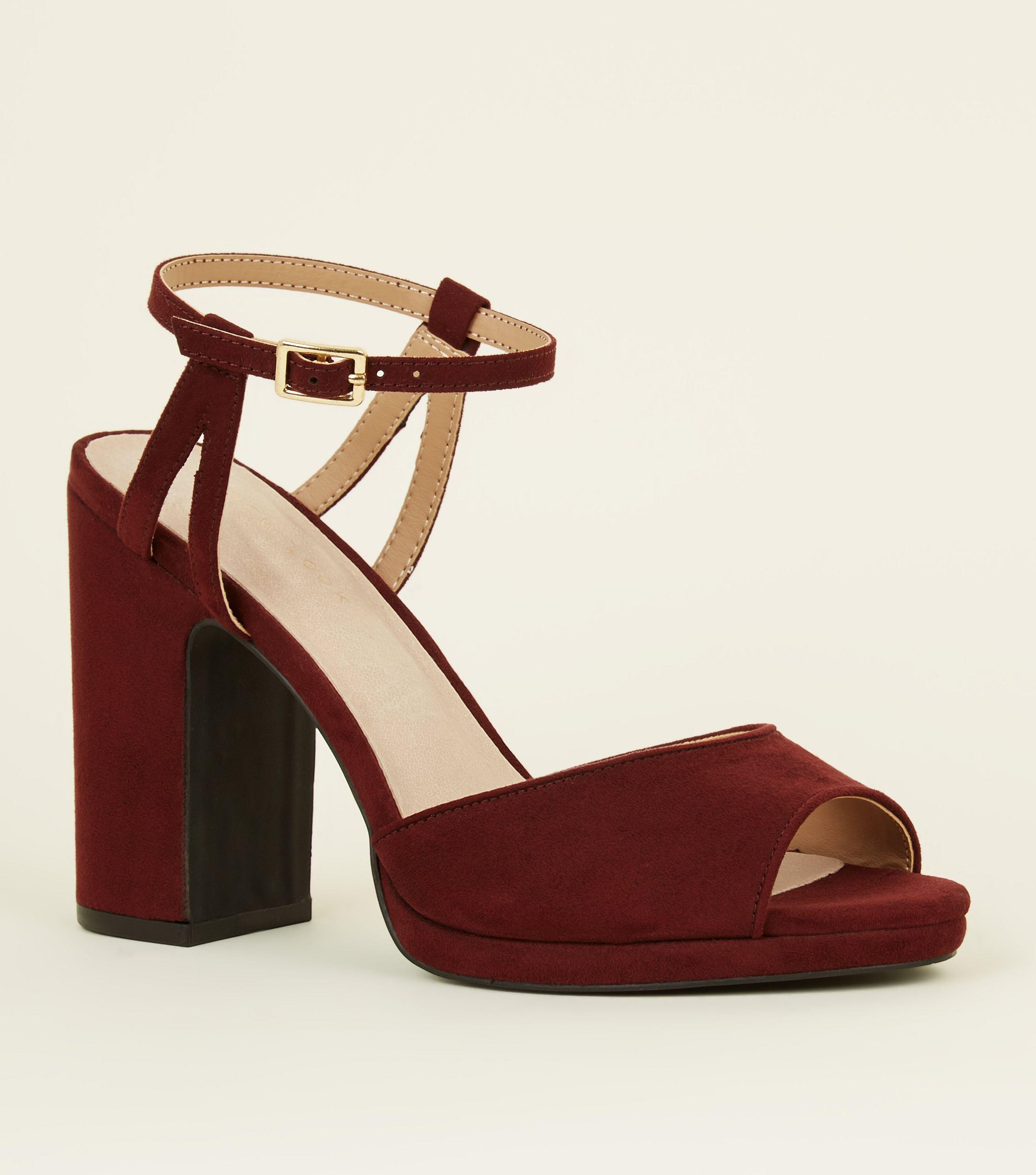 3daf3b18de1 New Look Burgundy Comfort Peep Toe Platform Block Heels in Red - Lyst