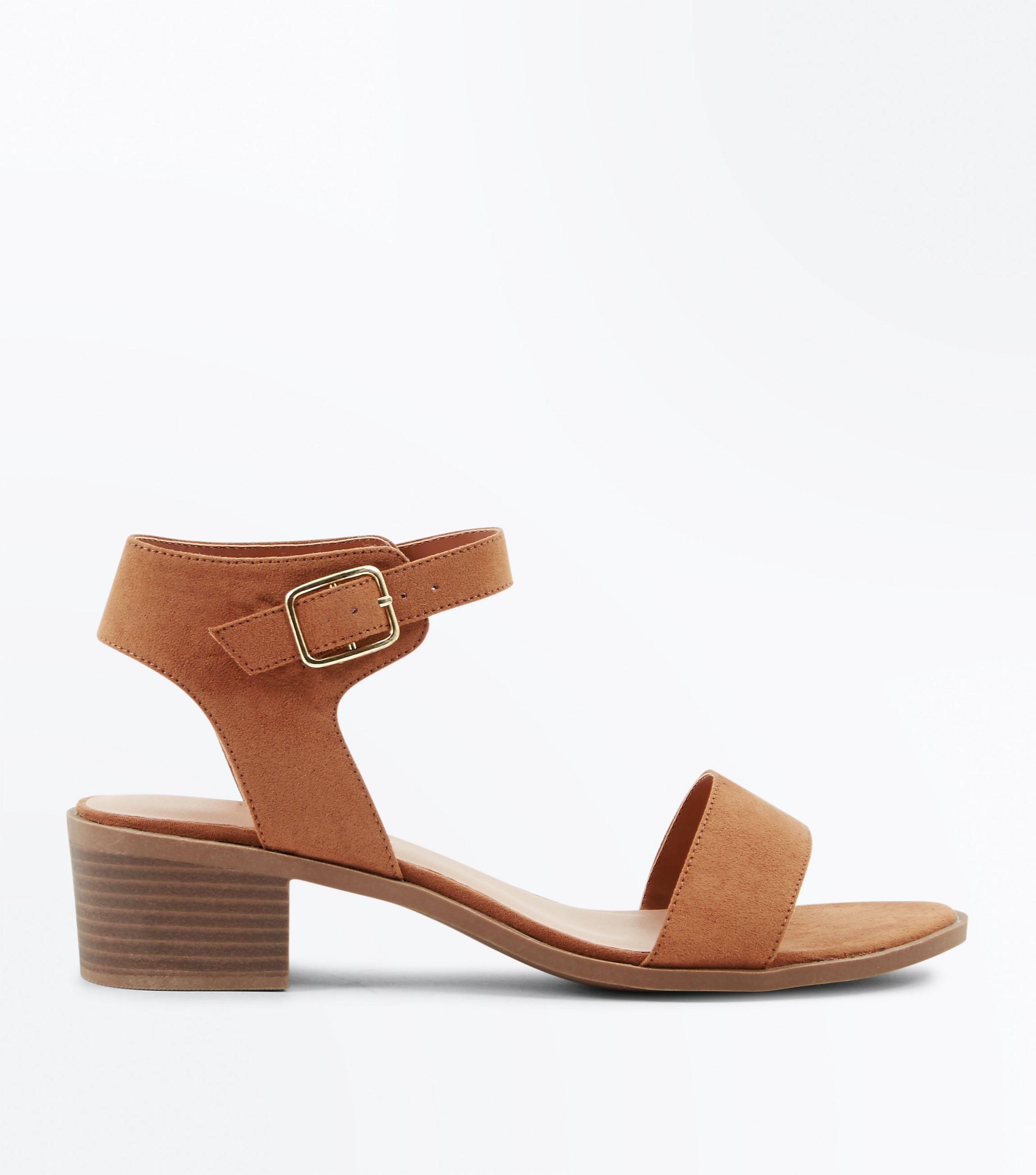 b2bc843d711 New Look Wide Fit Tan Suedette Low Block Heel Sandals in Brown - Lyst