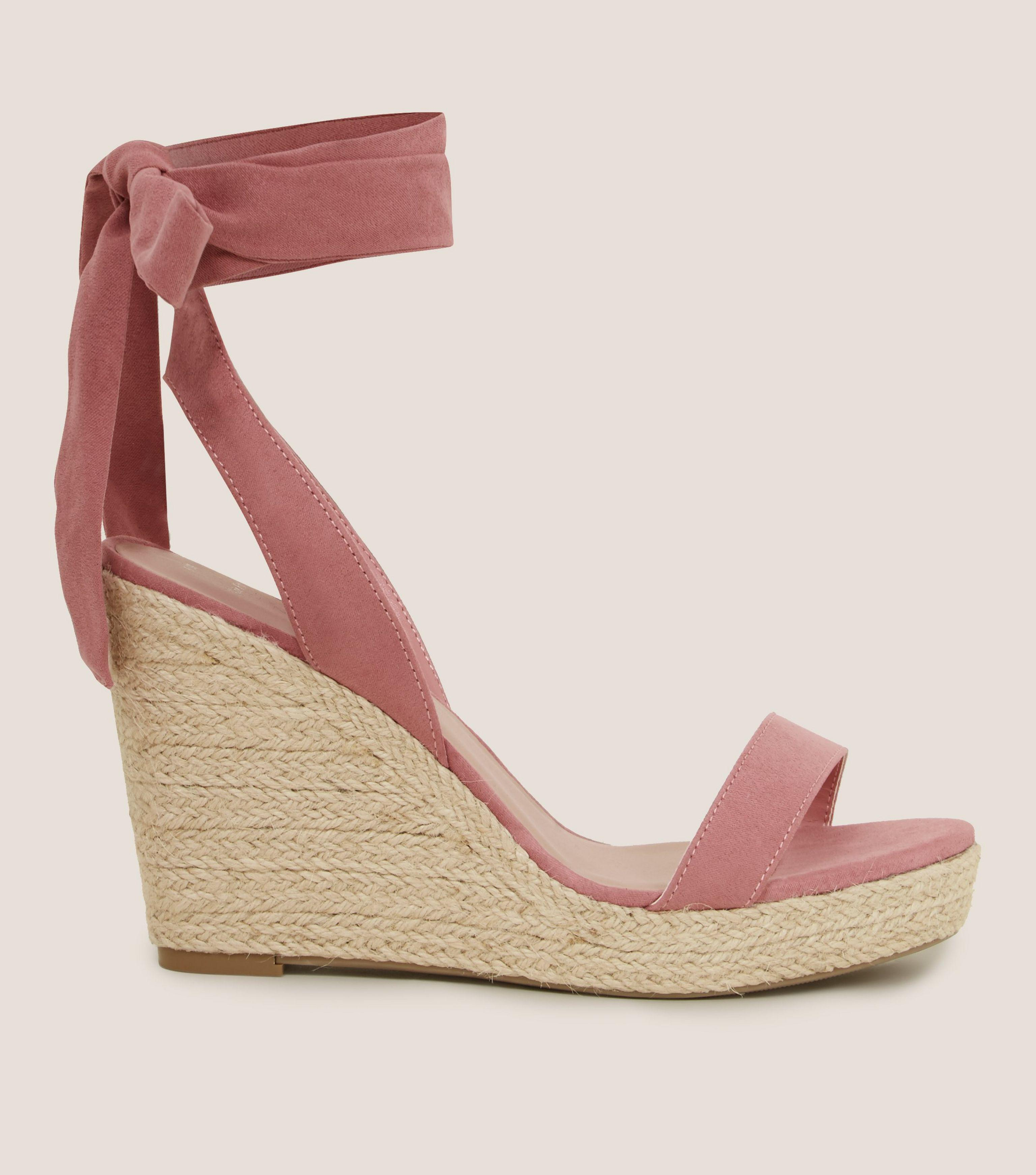db68c3ed05ca New Look Wide Fit Pink Suedette Ankle Tie Espadrille Wedges in Pink ...