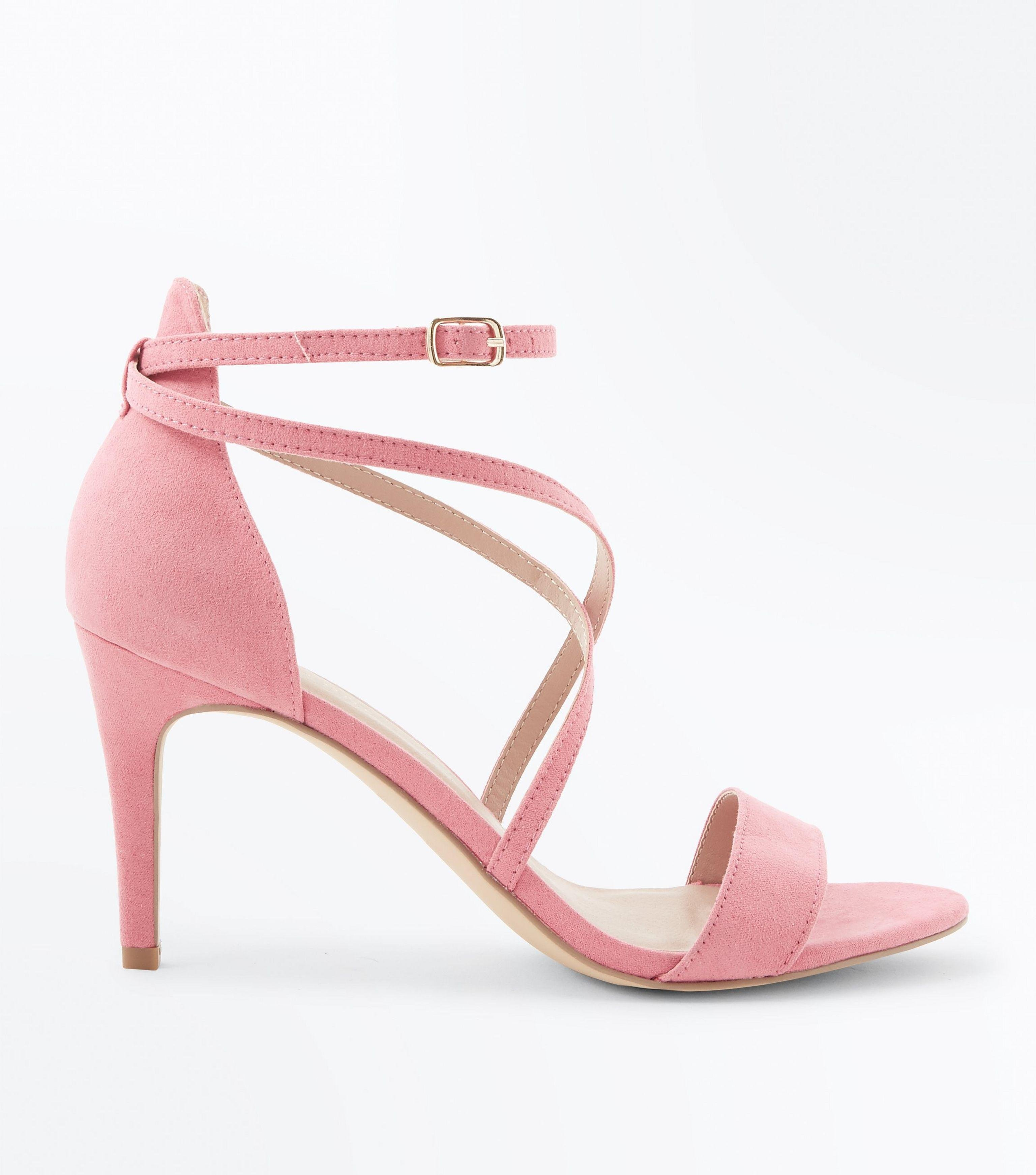 a3931346f826 New Look Bright Pink Suedette Strappy Stiletto Sandals in Pink - Lyst